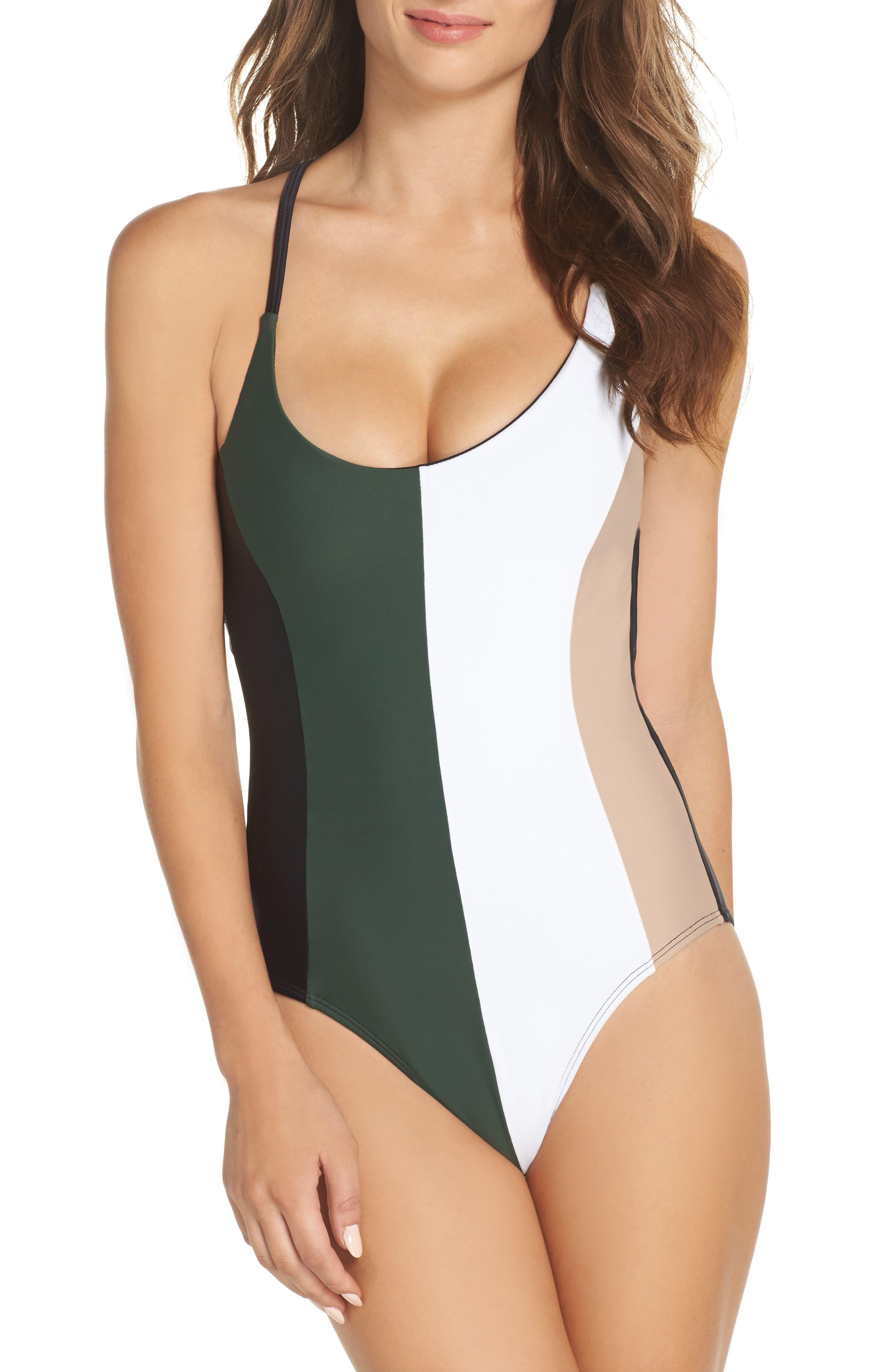 Farrah Colorblock One-Piece Swimsuit,                             Main thumbnail 1, color,                             300