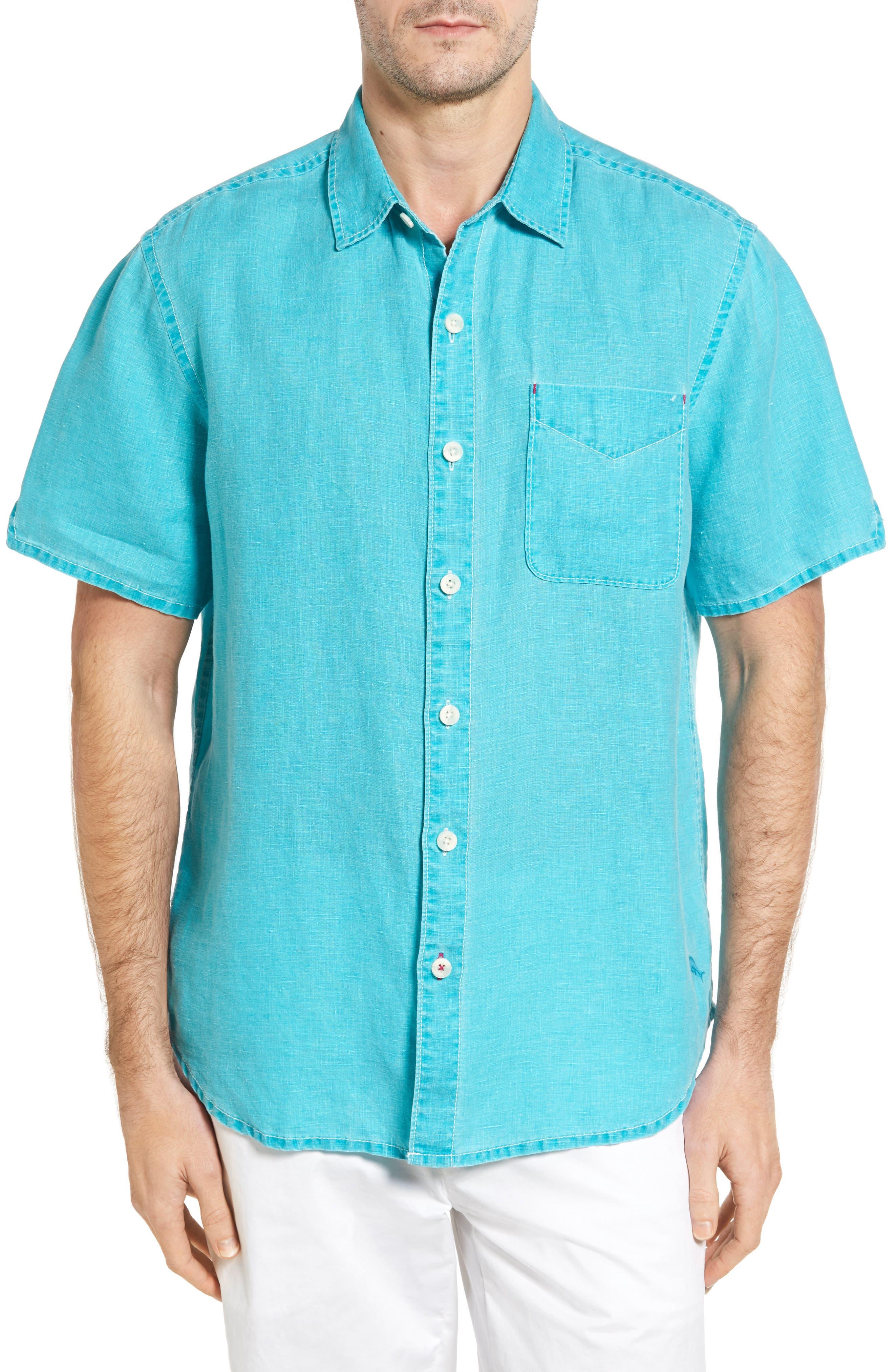 Seaglass Breezer Short Sleeve Linen Sport Shirt,                             Main thumbnail 14, color,