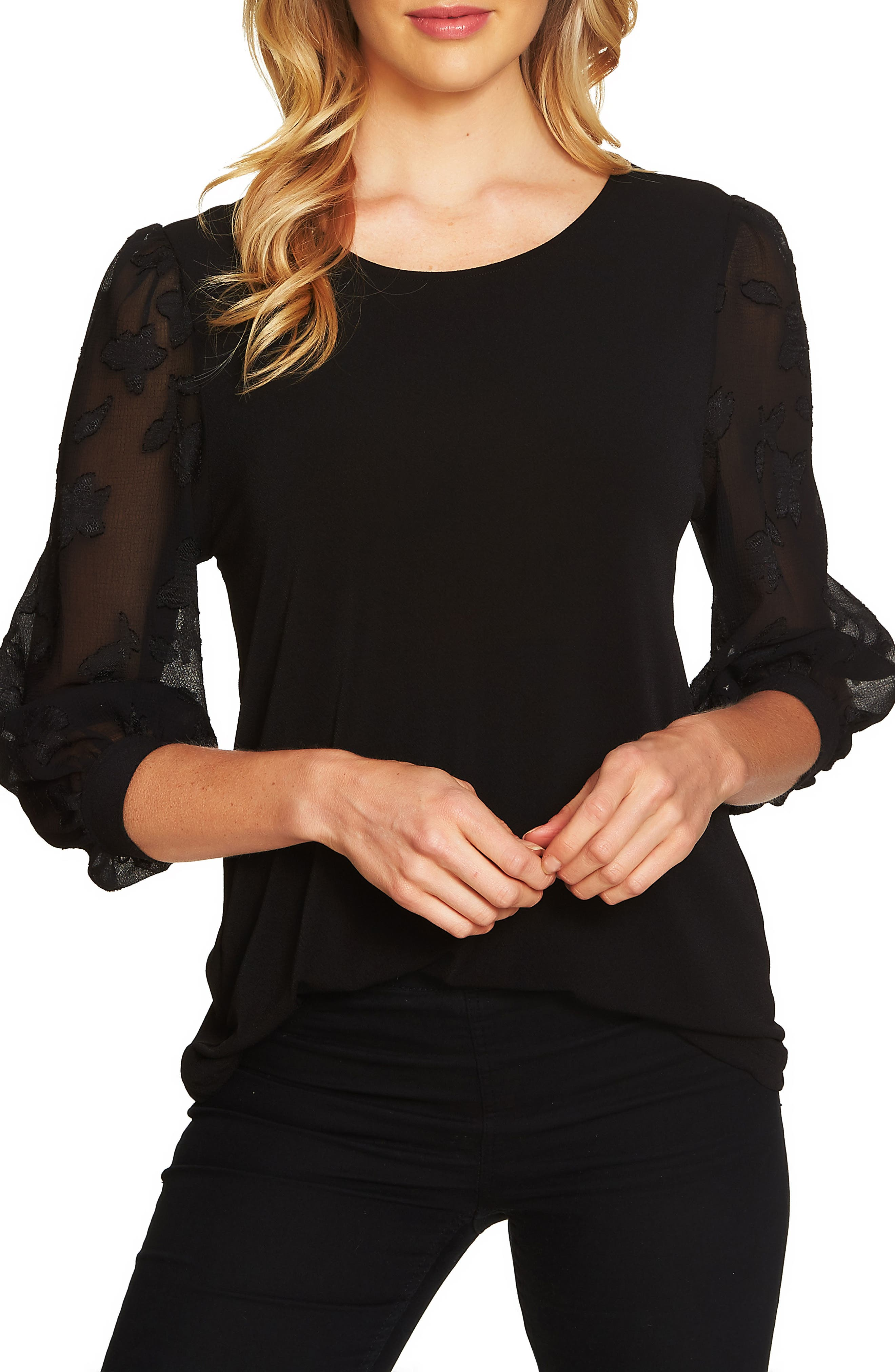 Lace Sleeve Stretch Crepe Blouse,                             Main thumbnail 1, color,