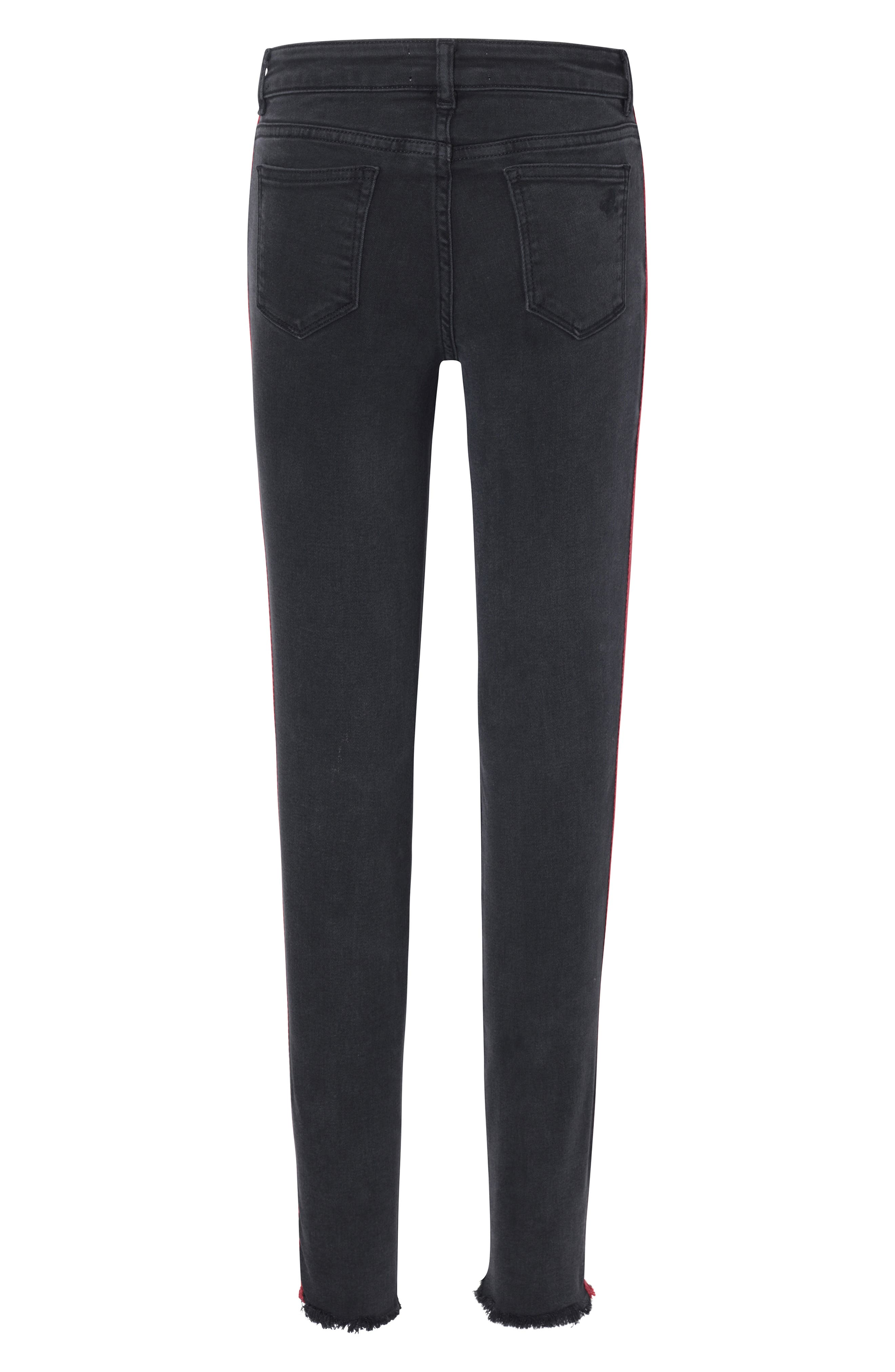 Side Stripe Skinny Jeans,                             Alternate thumbnail 2, color,                             POP BLACK