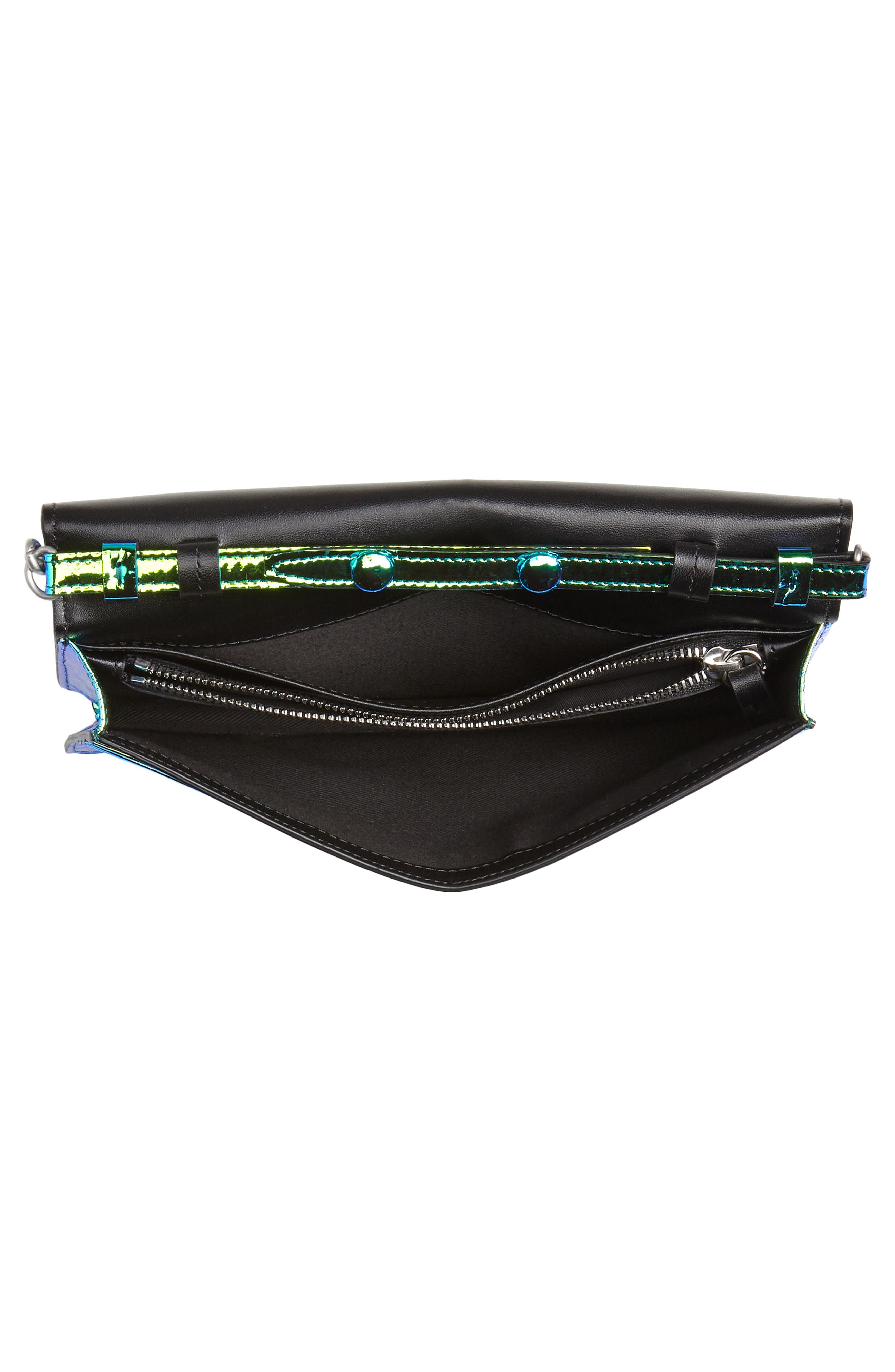 Iridescent Faux Leather Wallet on a Chain,                             Alternate thumbnail 4, color,                             IRRIDISCENT BLUE/ GREEN