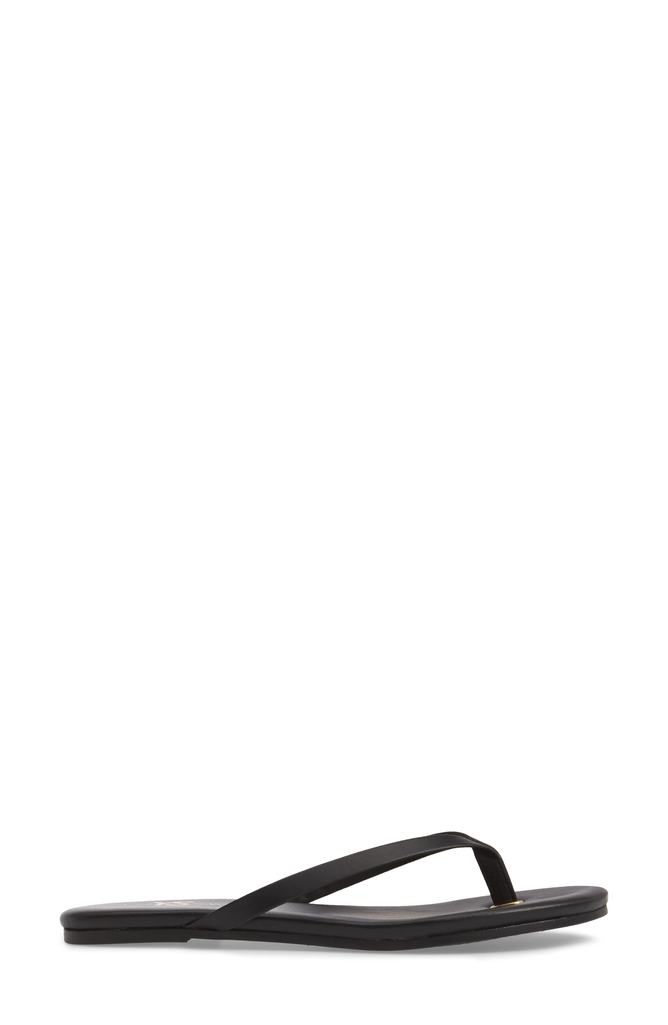 Rivington Flip Flop,                             Alternate thumbnail 3, color,                             BLACK LEATHER