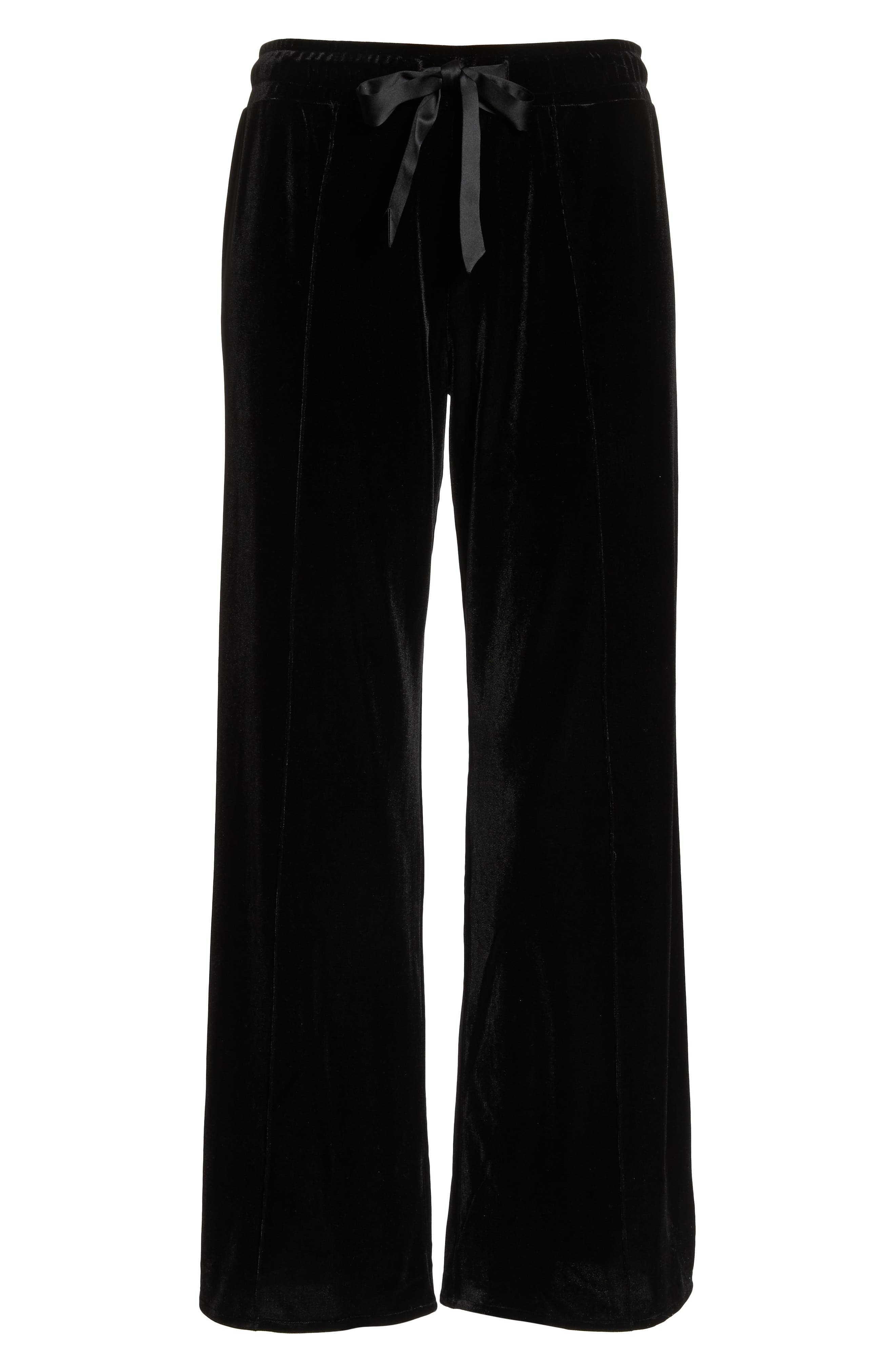 Dream Away Velour Lounge Pants,                             Alternate thumbnail 6, color,                             BLACK