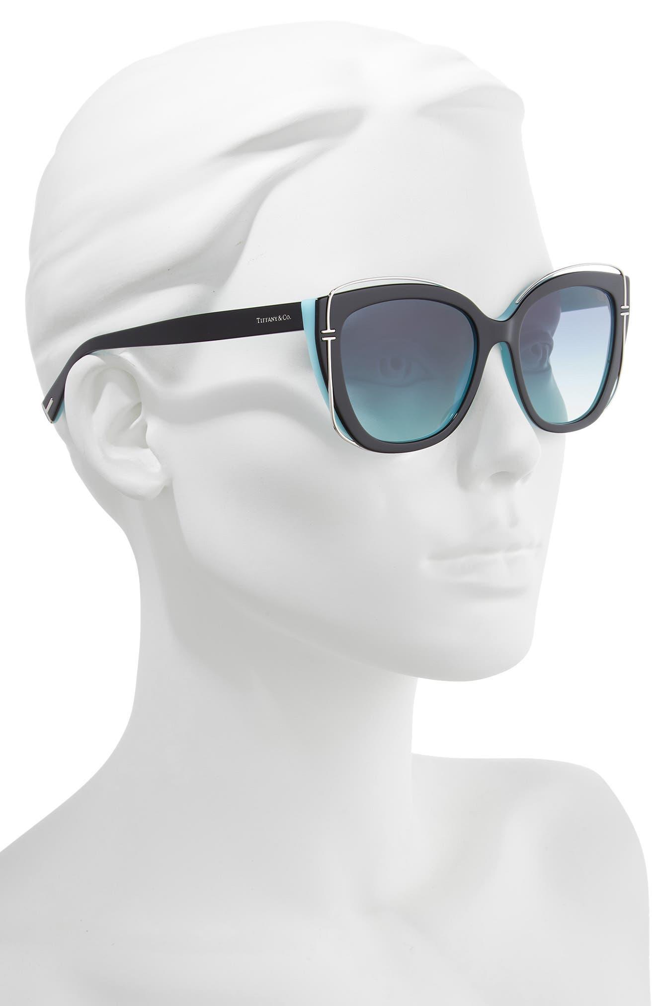 54mm Gradient Cat Eye Sunglasses,                             Alternate thumbnail 2, color,                             BLACK/ BLUE GRADIENT
