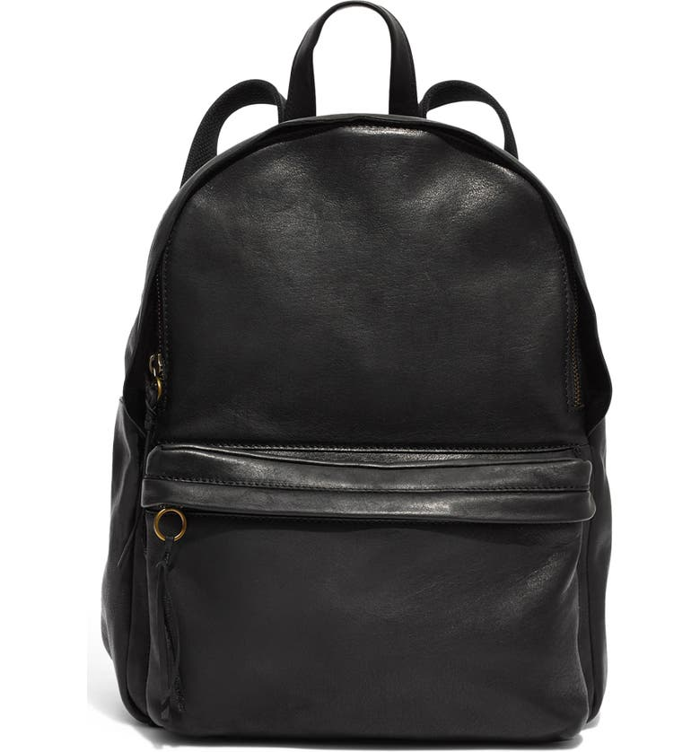 MADEWELL Lorimer Leather Backpack, Main, color, TRUE BLACK 548468d03e