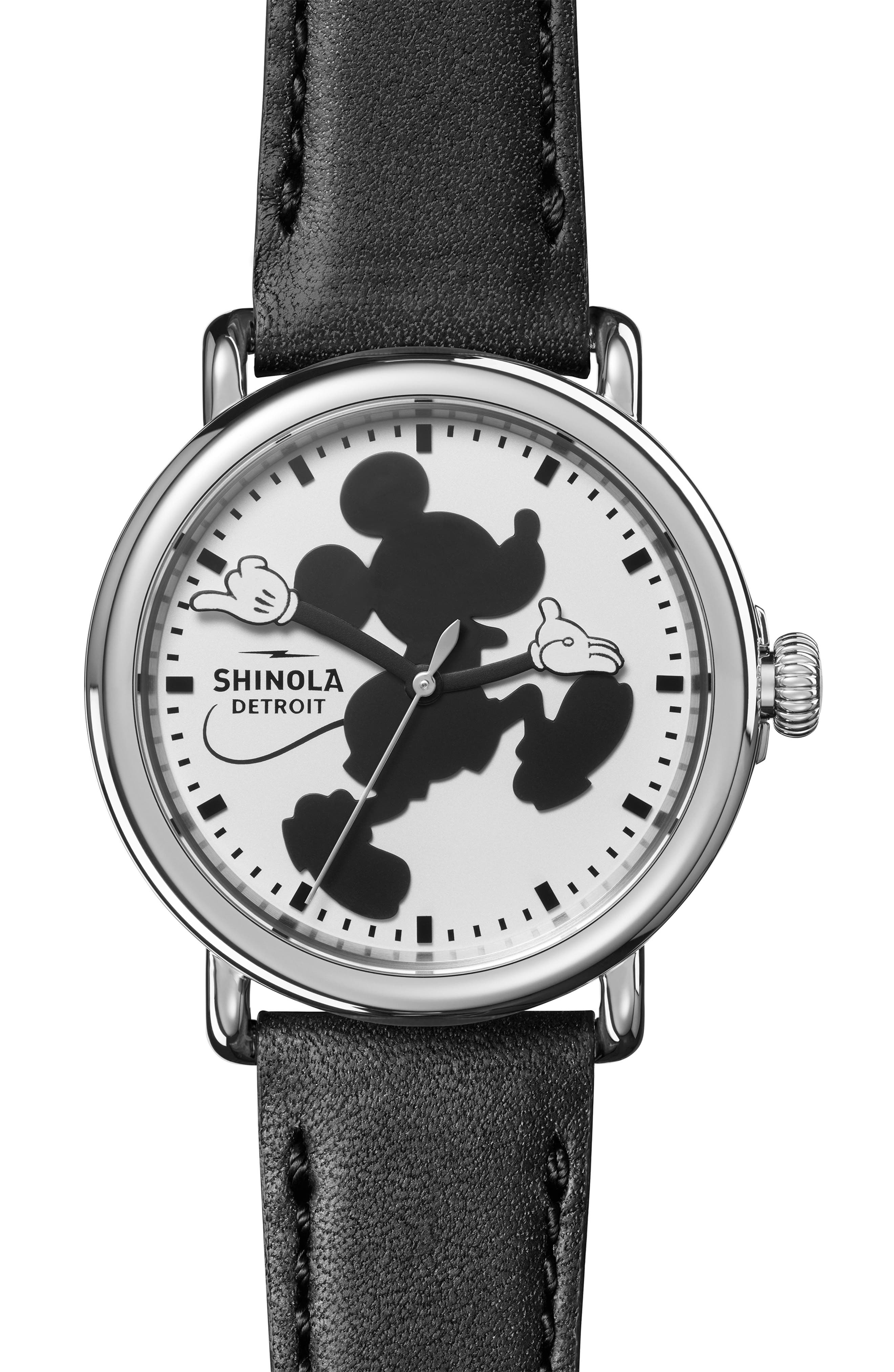 x Disney Runwell Mickey Classic Leather Strap Watch, 41mm,                             Main thumbnail 1, color,                             BLACK/ WHITE/ SILVER
