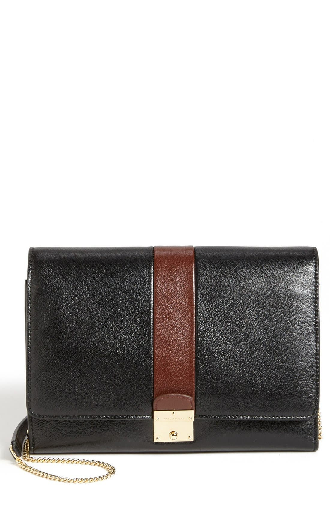MARC JACOBS,                             'Checkers' All-In-One Leather Crossbody Bag,                             Main thumbnail 1, color,                             002