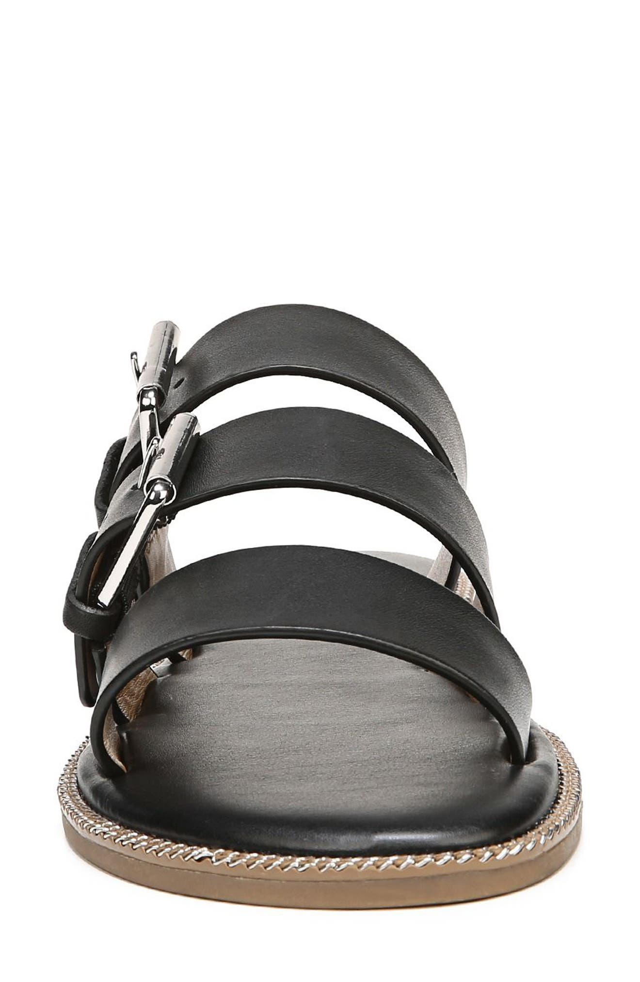 SARTO by Franco Sarto Kasa Three Strap Slide Sandal,                             Alternate thumbnail 4, color,                             BLACK LEATHER