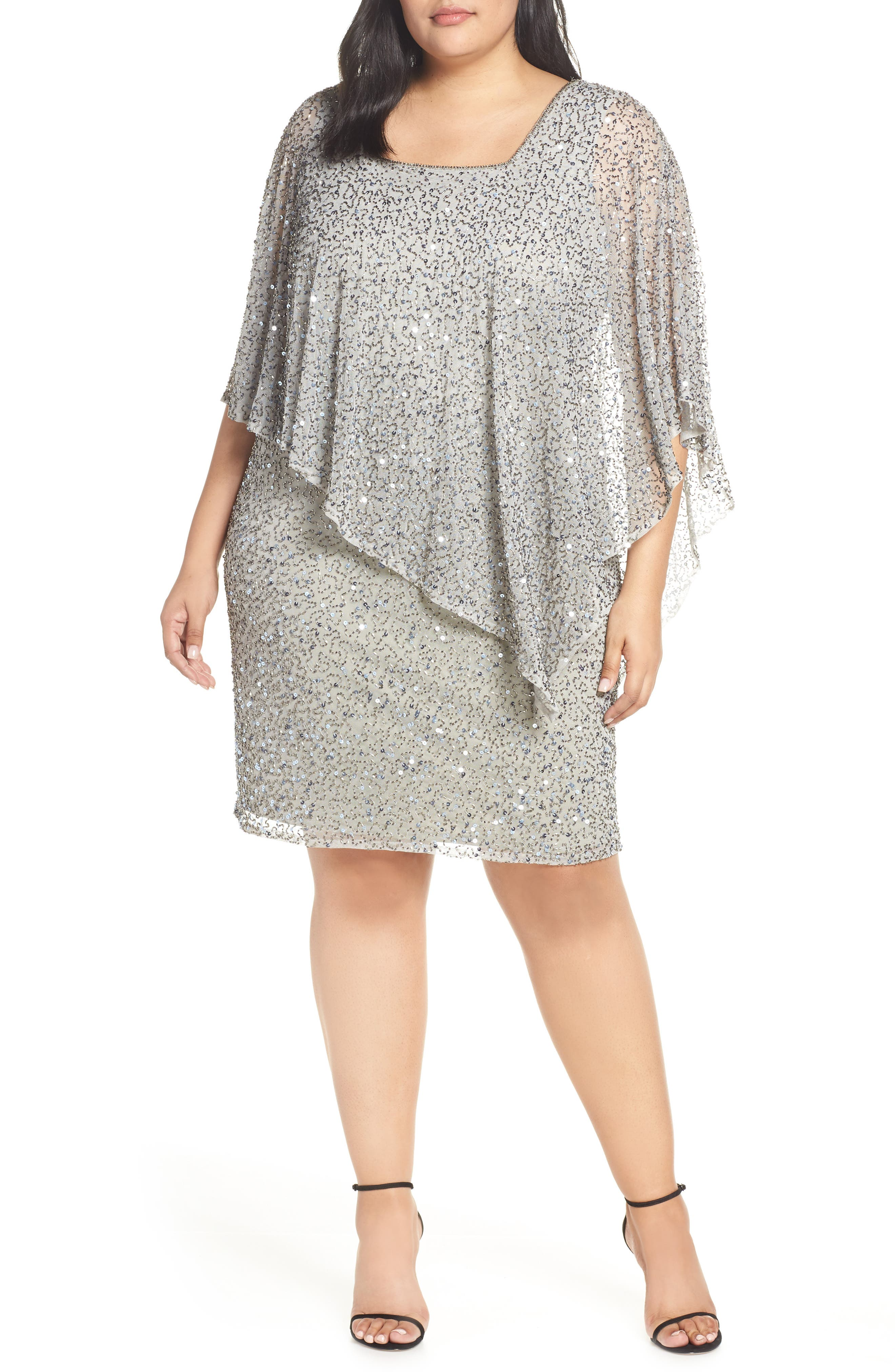 24e7b2d3b4b Plus Size Pisarro Nights Beaded Cape Cocktail Dress