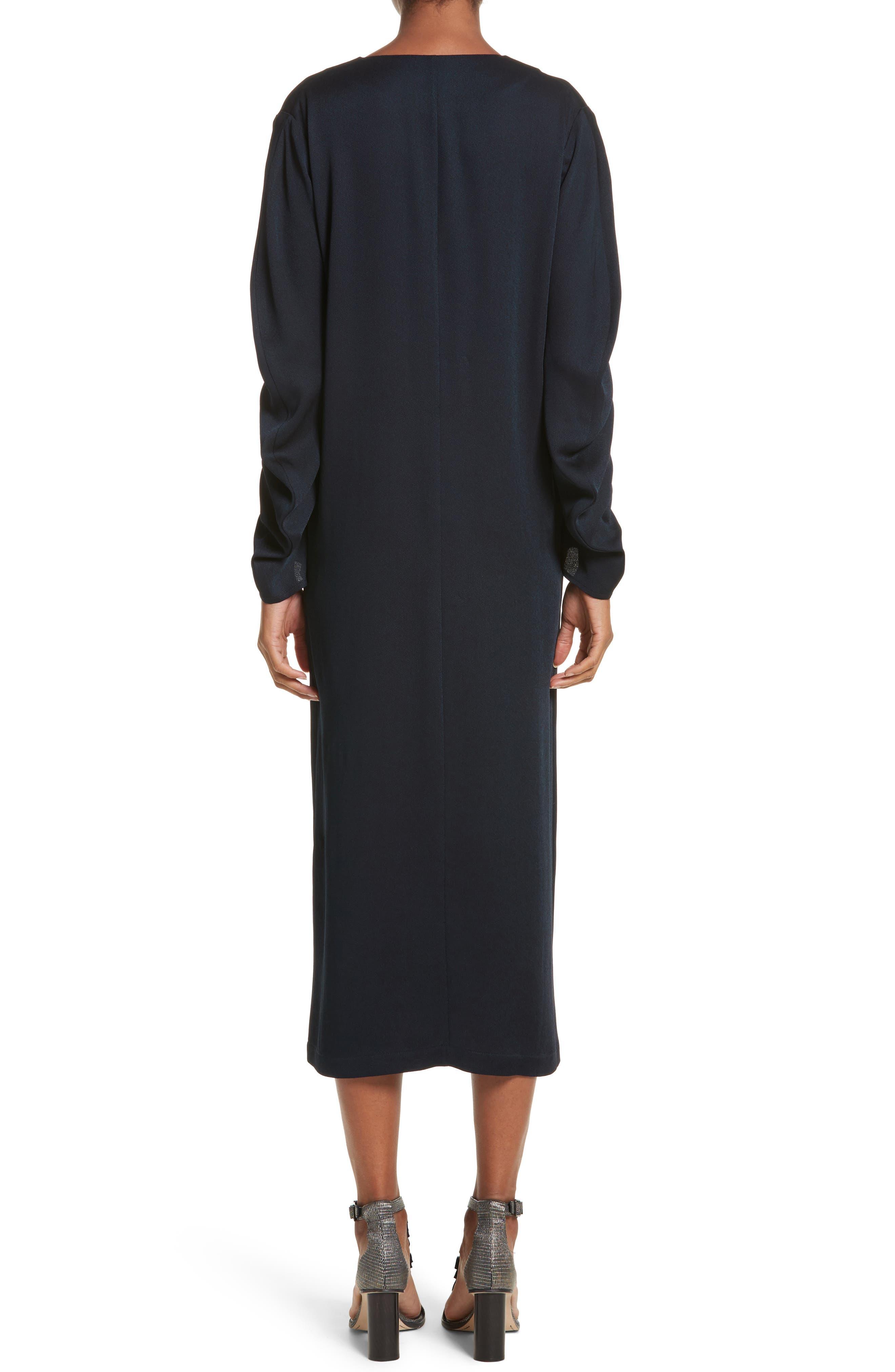 Eco Drape Midi Dress,                             Alternate thumbnail 2, color,                             007