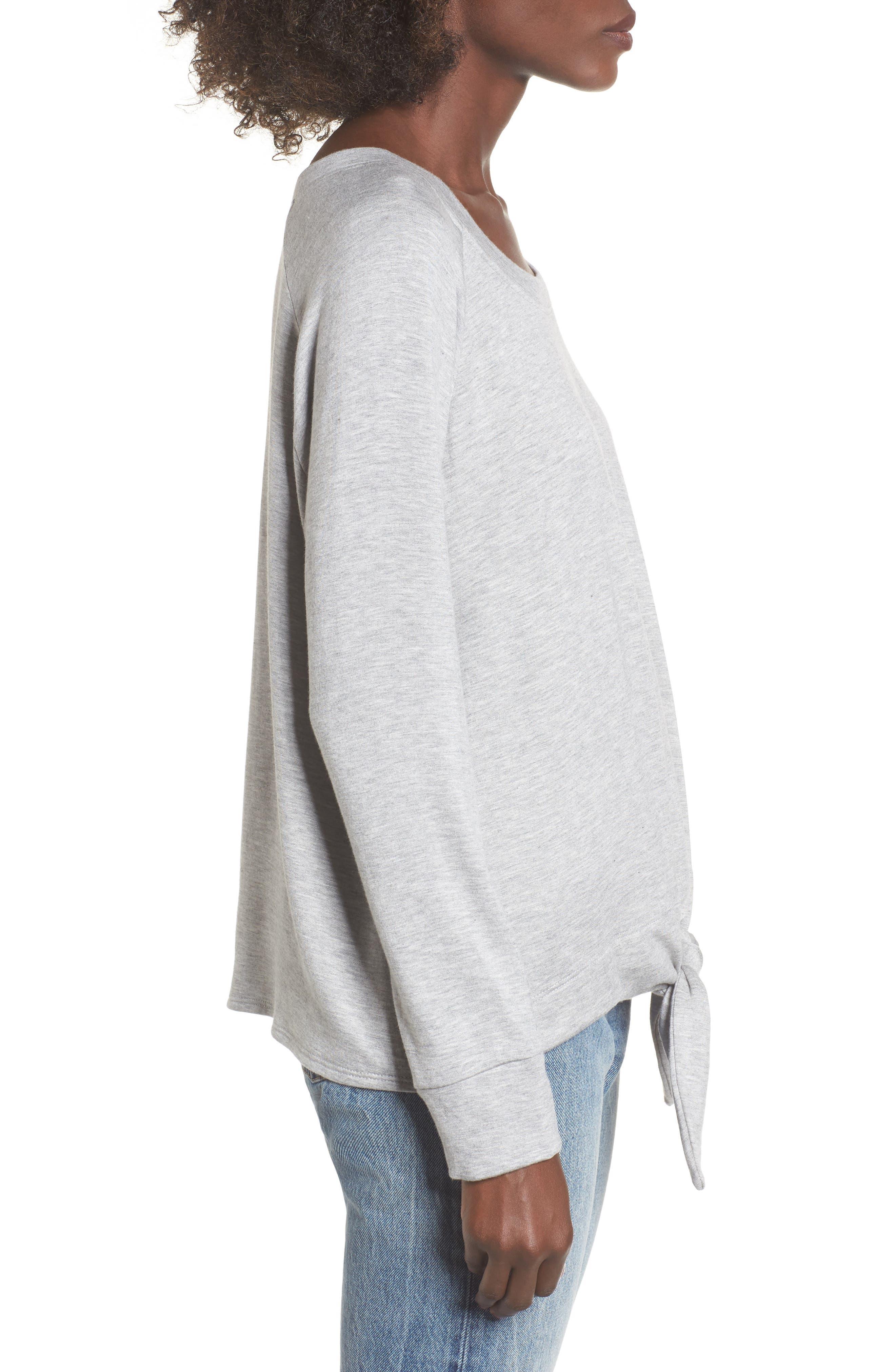 Tie Front Sweatshirt,                             Alternate thumbnail 3, color,                             036