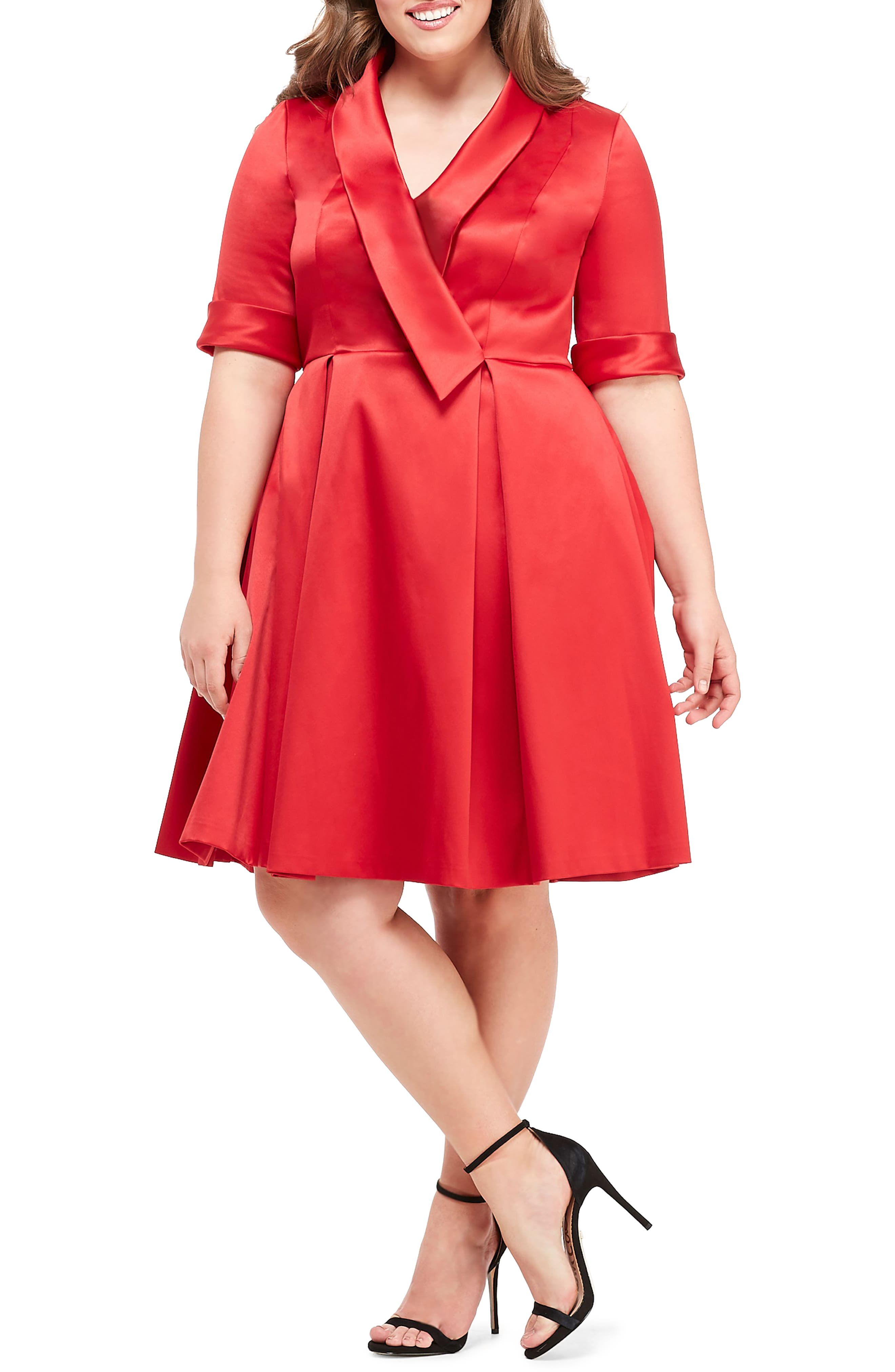 GAL MEETS GLAM COLLECTION,                             Ruby Royal Satin Asymmetrical Collar Dress,                             Alternate thumbnail 2, color,                             RUBY