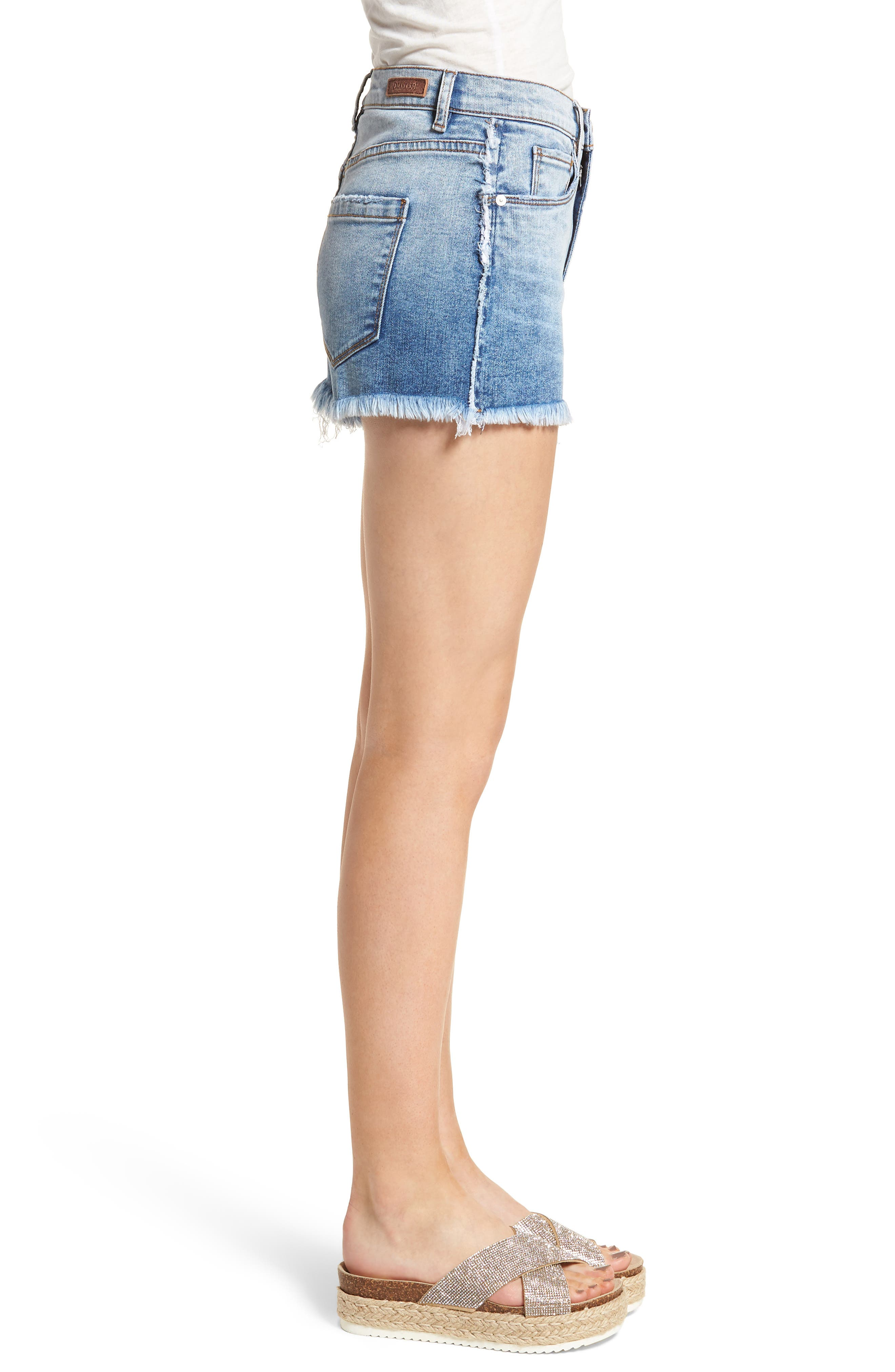 High Waist Cutoff Denim Shorts,                             Alternate thumbnail 3, color,                             400