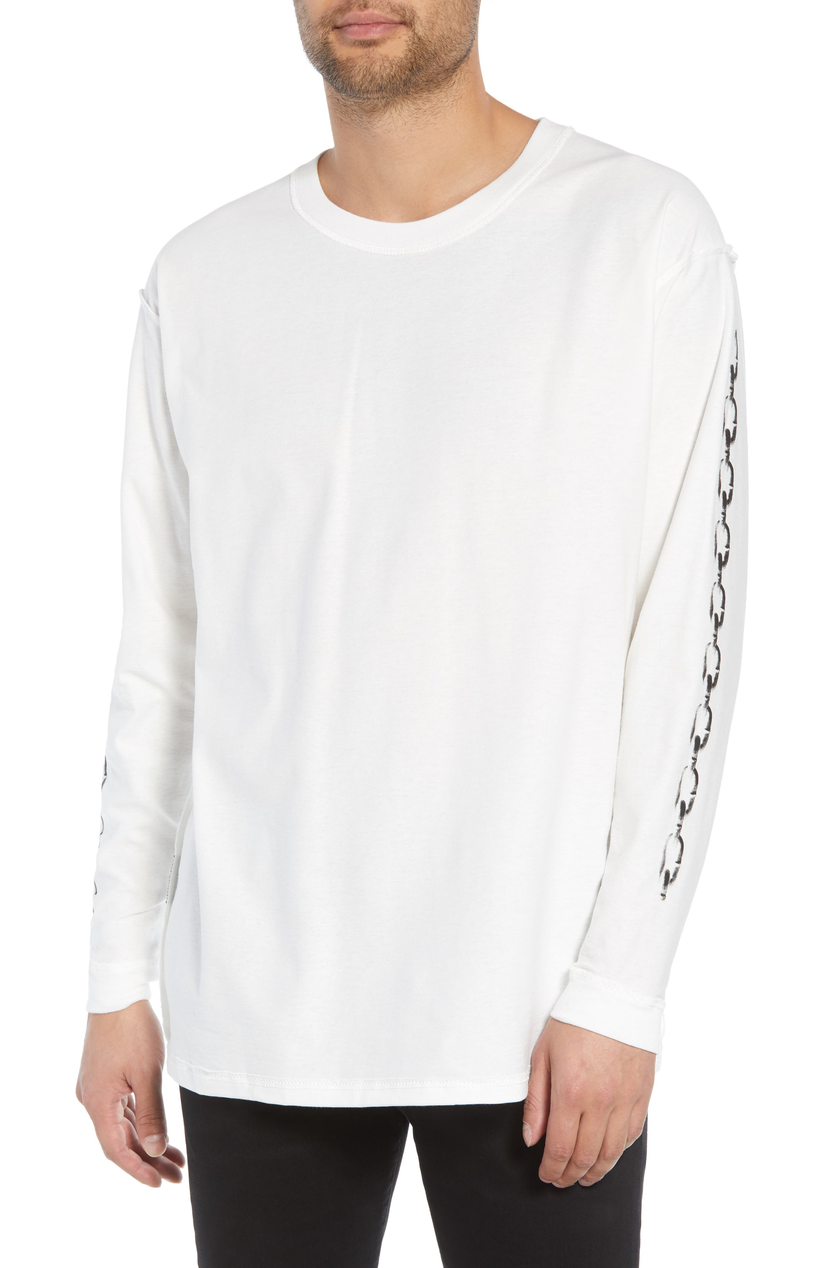Represent Records Long Sleeve T-Shirt,                         Main,                         color, WHITE
