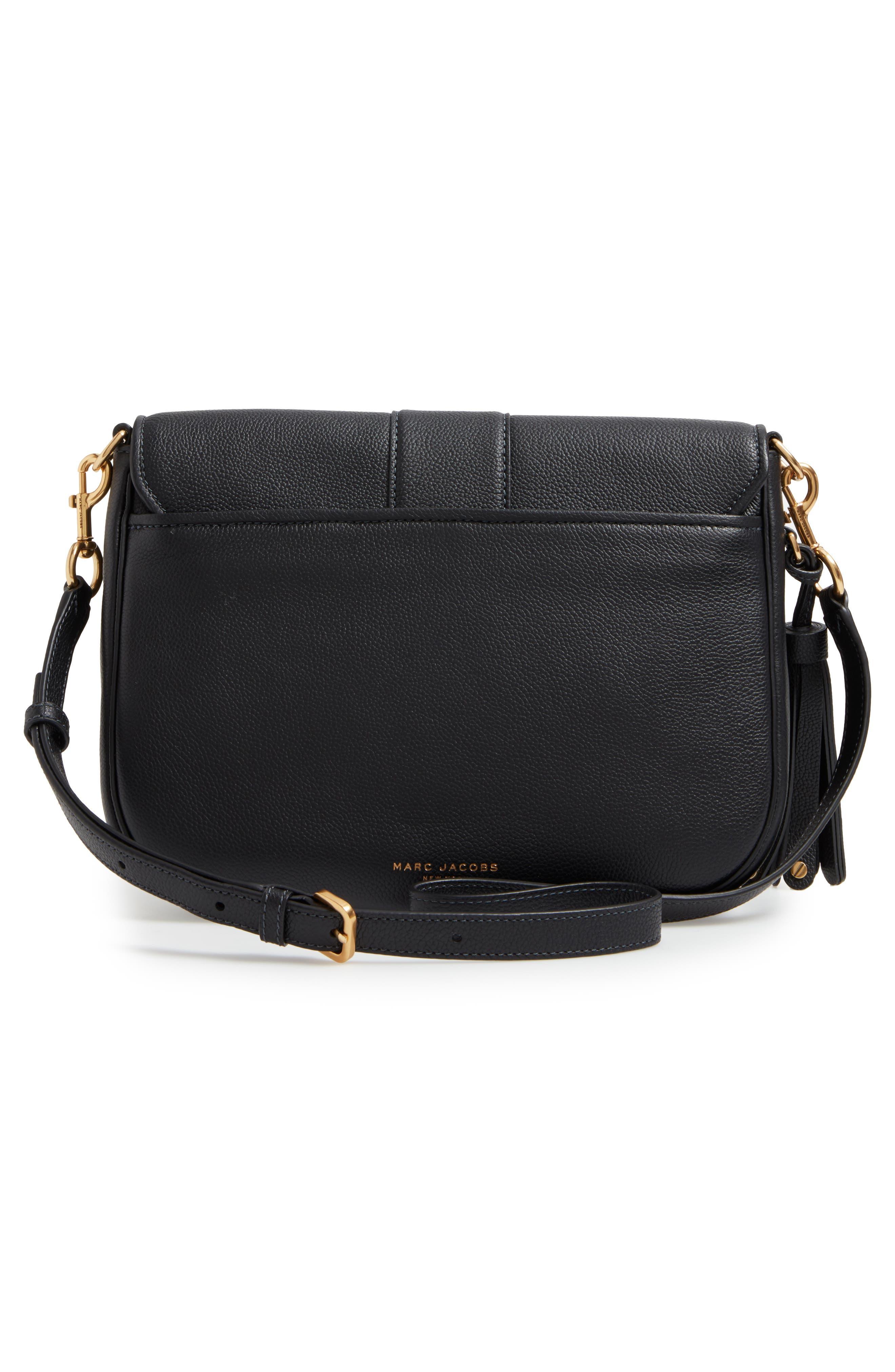 Interlock Leather Crossbody Bag,                             Alternate thumbnail 3, color,                             001