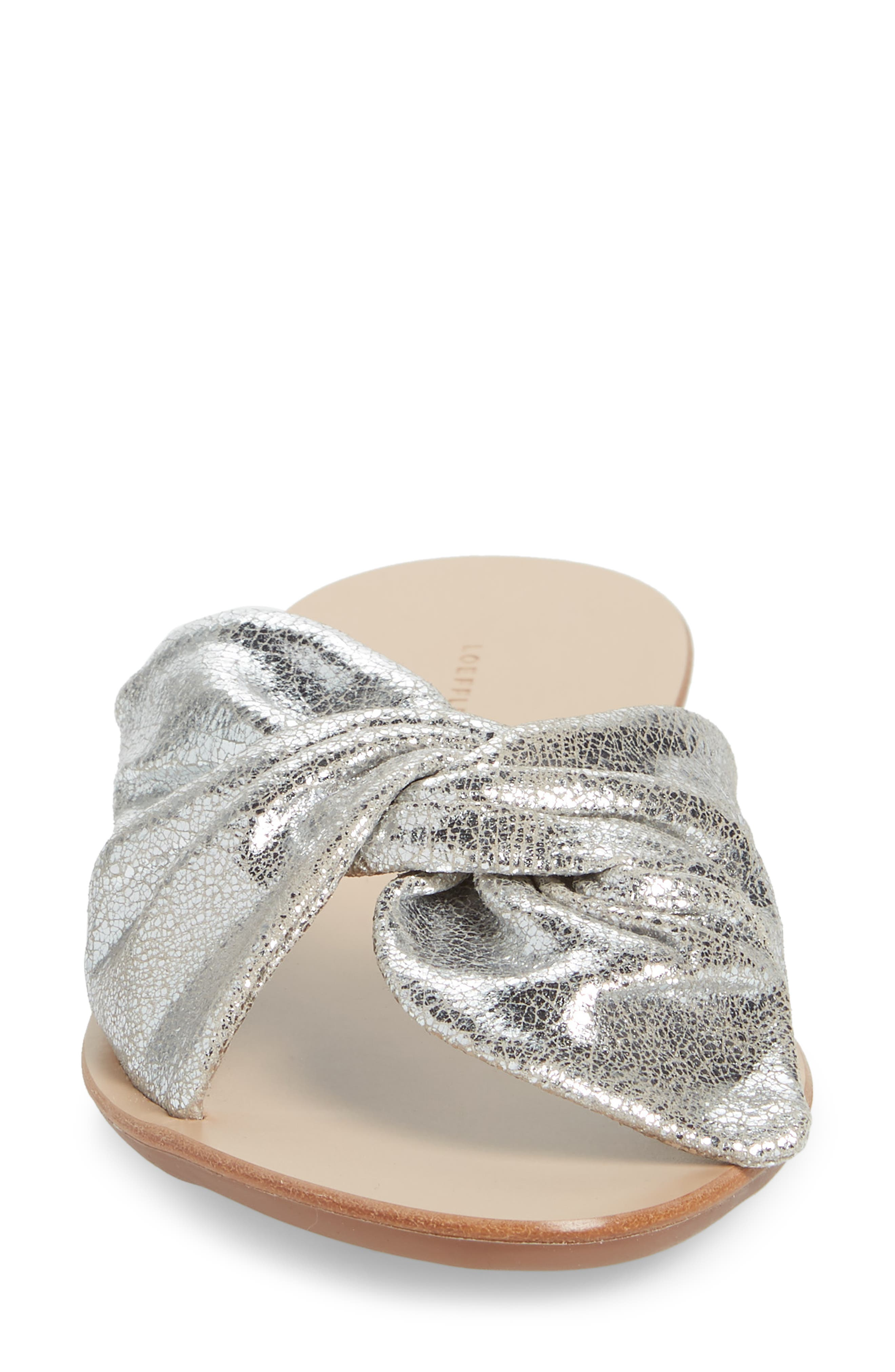 Phoebe Knotted Sandal,                             Alternate thumbnail 4, color,                             SILVER