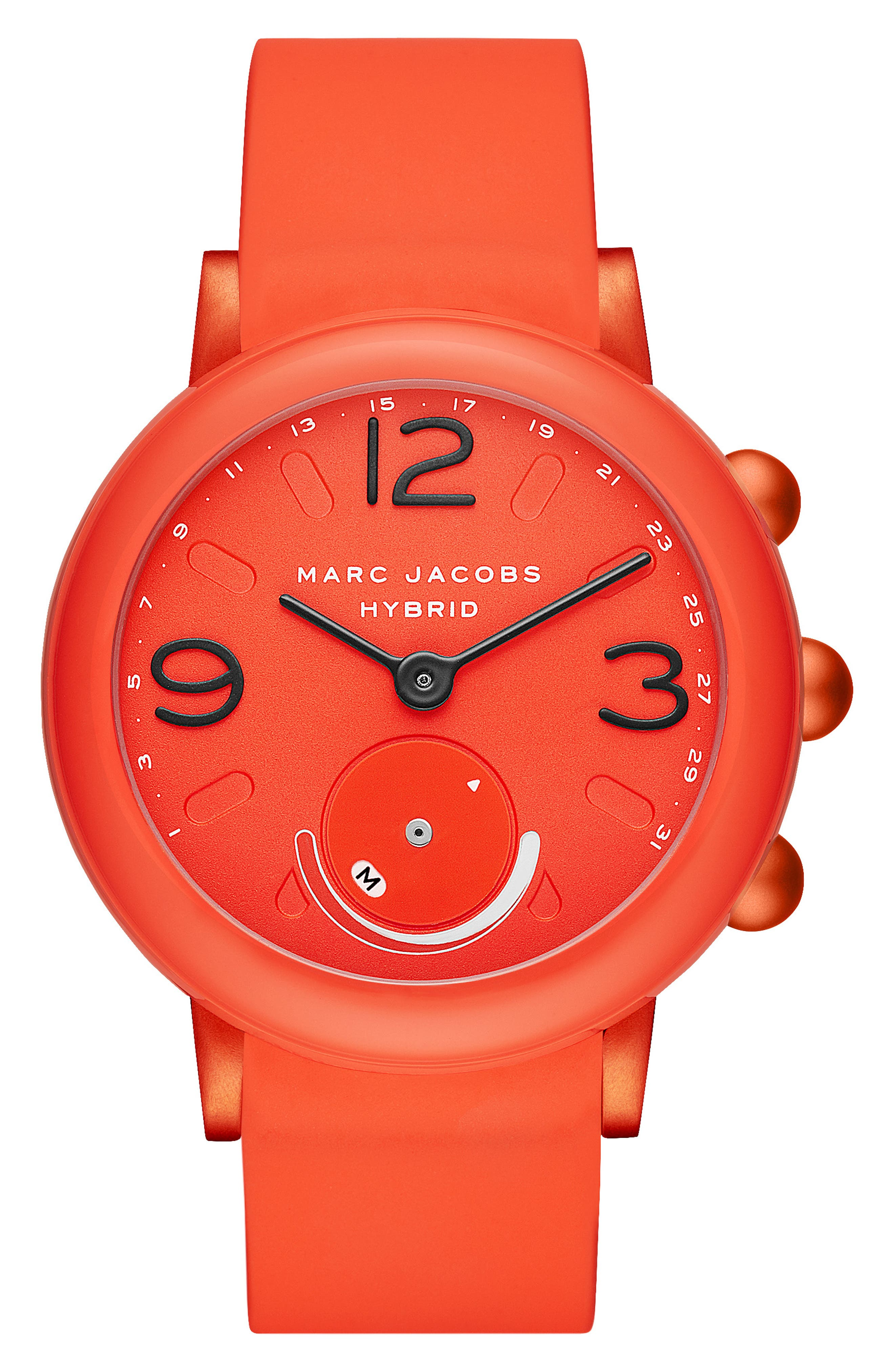 Riley Hybrid Rubber Strap Smart Watch, 44mm,                         Main,                         color, CORAL