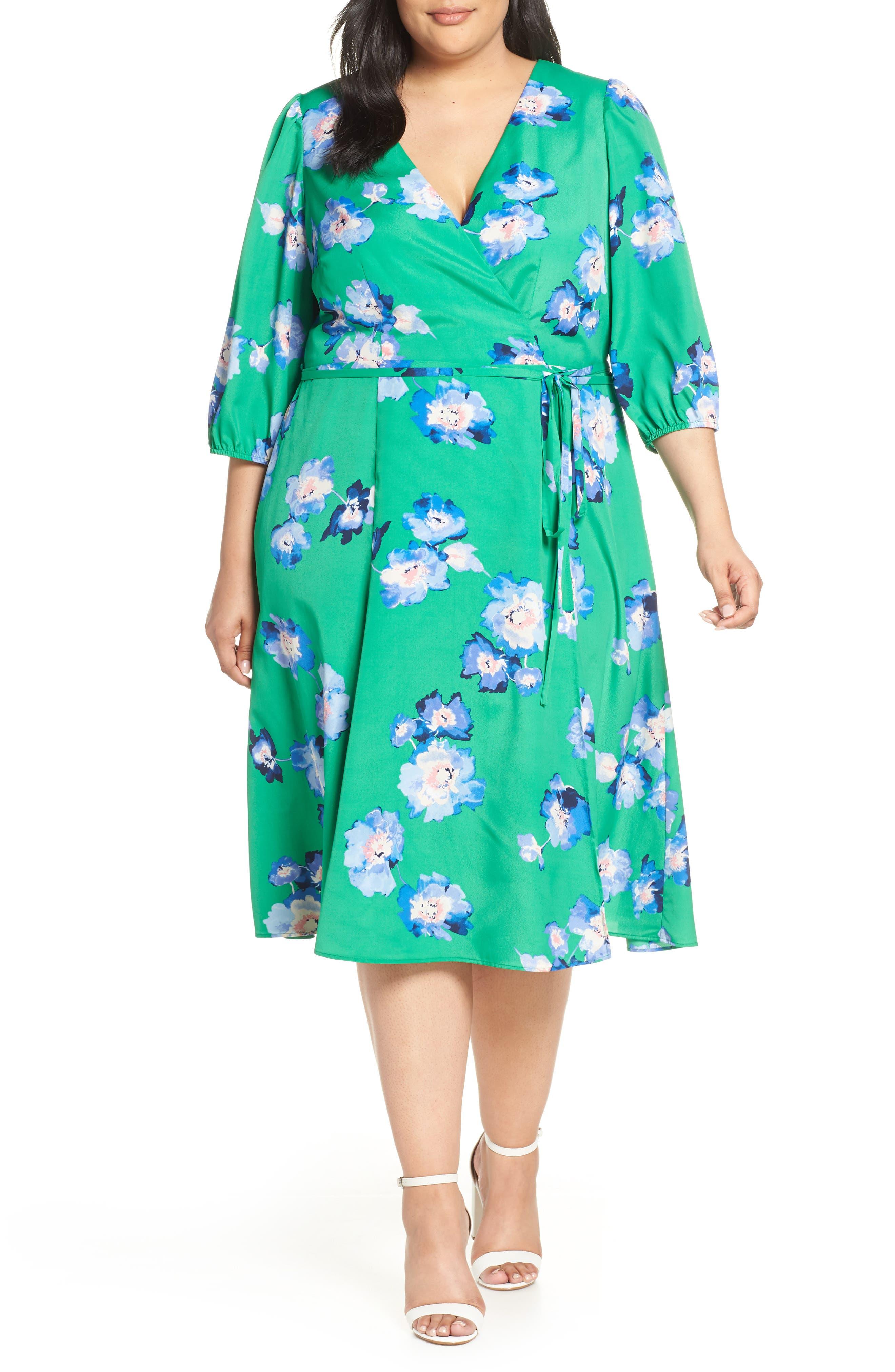 Plus Size Eliza J Blouson Sleeve Wrap Midi Dress, Green