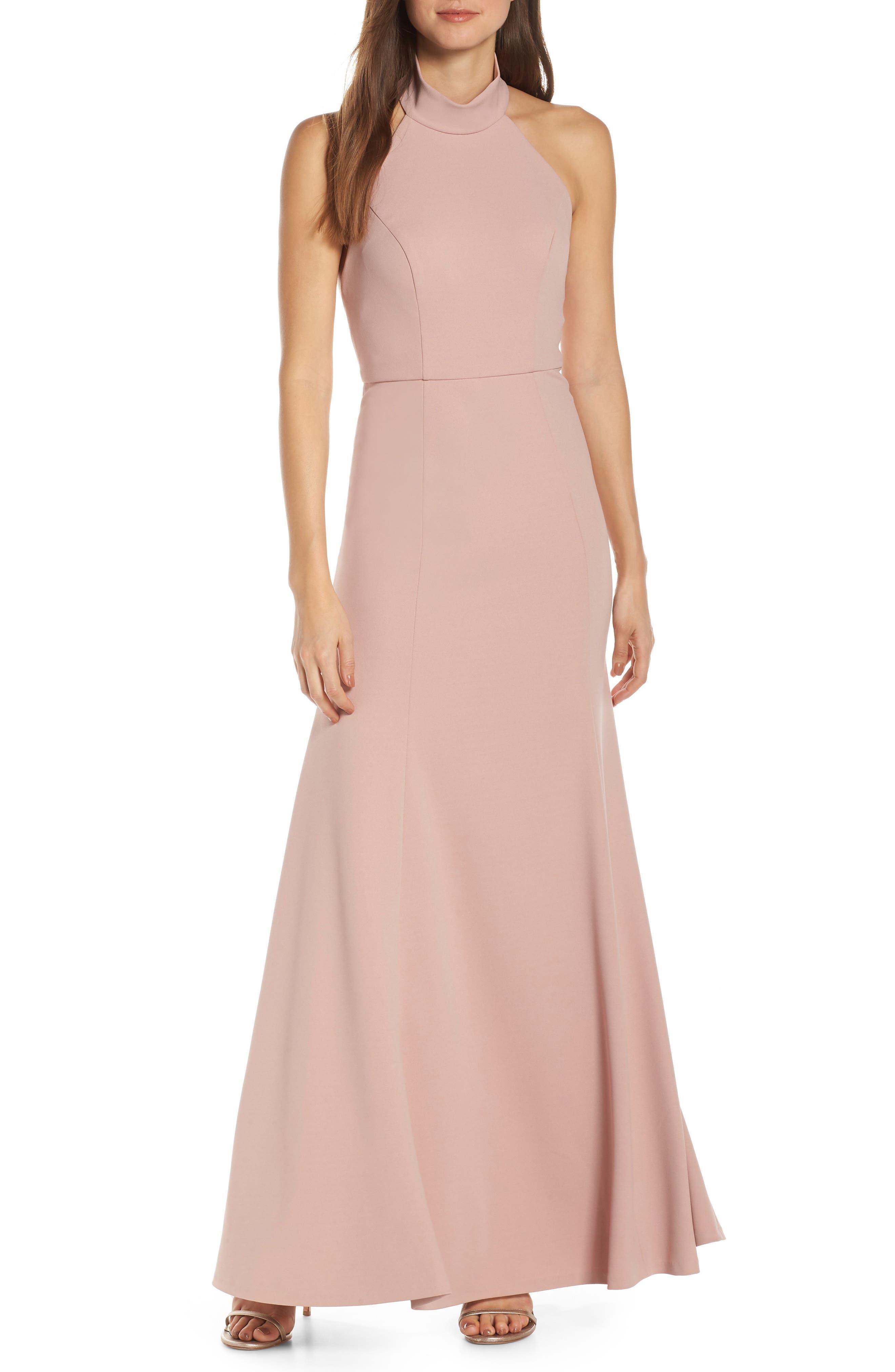 Jenny Yoo Petra Halter Crepe Evening Dress, Red