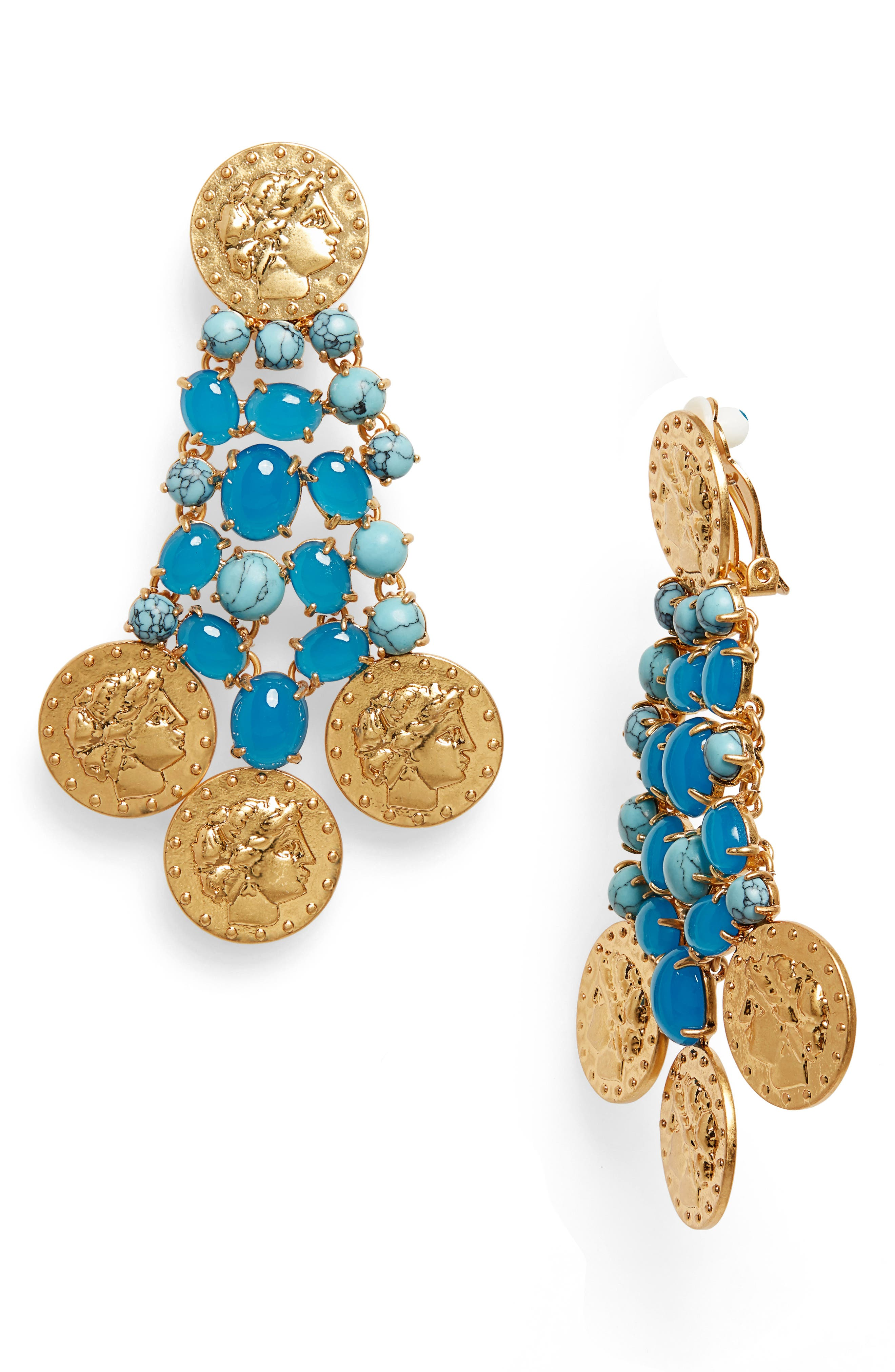 Coin Drop Earrings, Main, color, ROLLED BRASS 59 / TURQUOISE