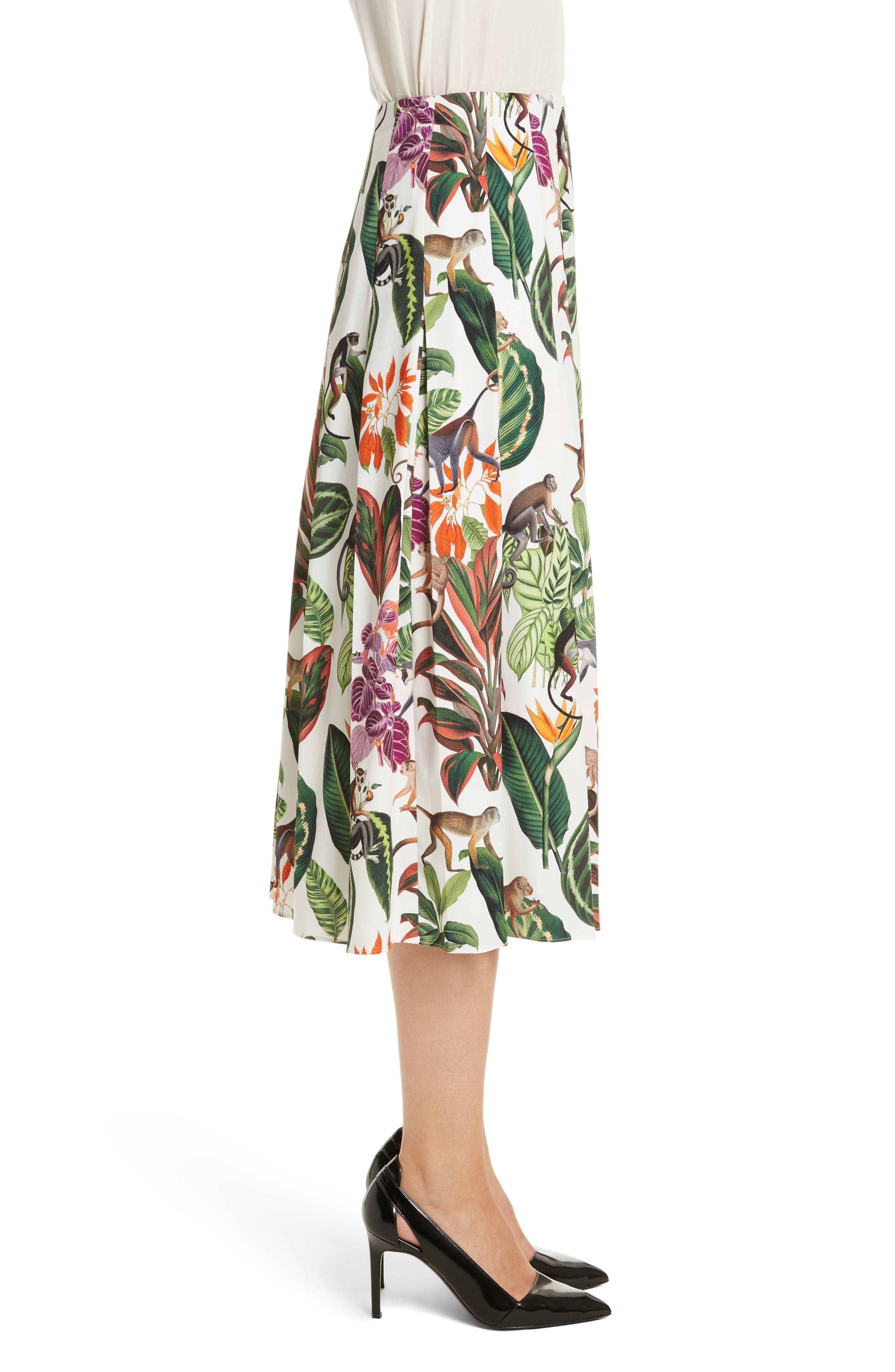 Jungle Print Pleated Stretch Silk Skirt,                             Alternate thumbnail 3, color,                             300
