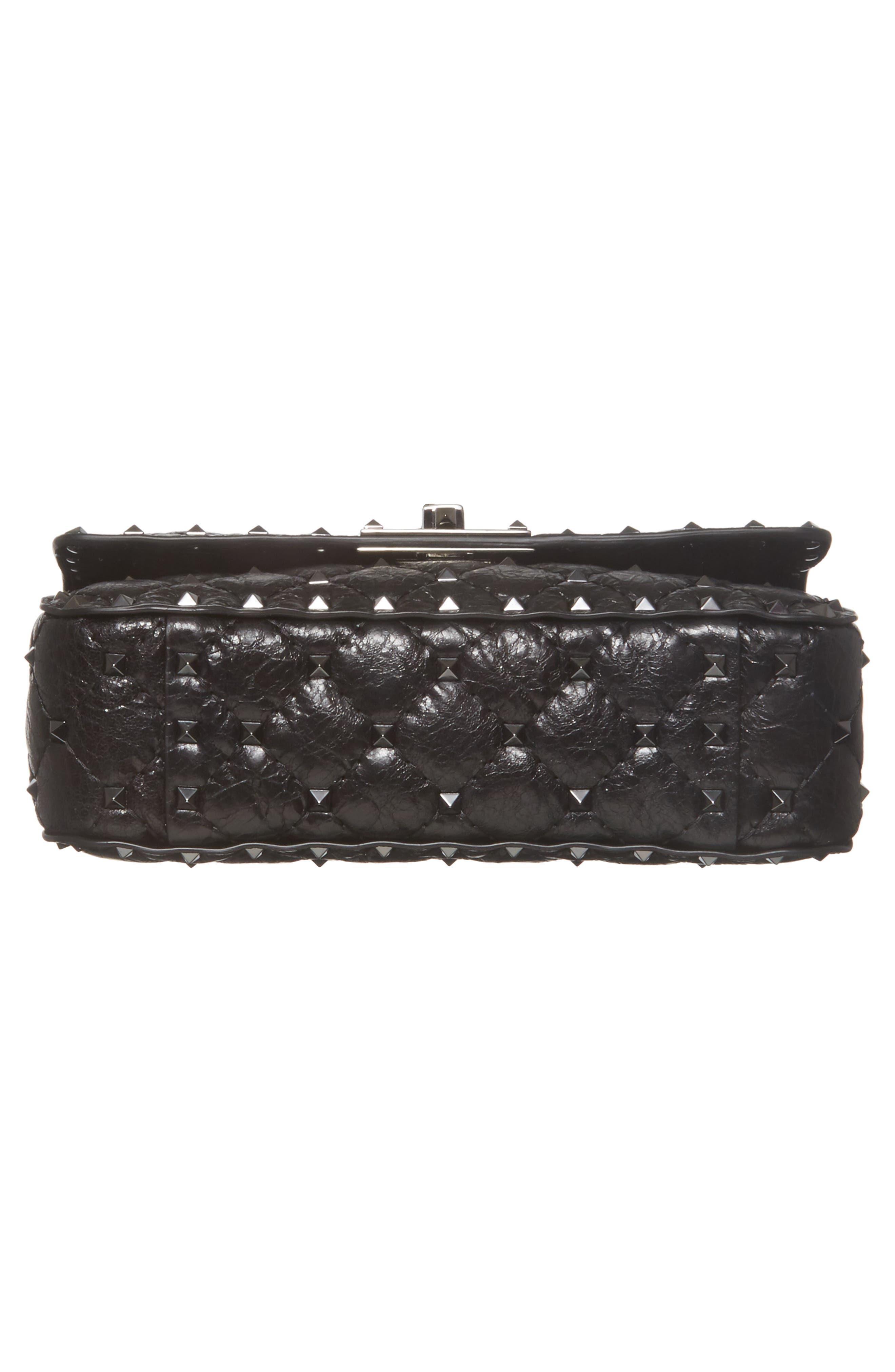 Vitello Rockstud Leather Shoulder Bag,                             Alternate thumbnail 6, color,                             001
