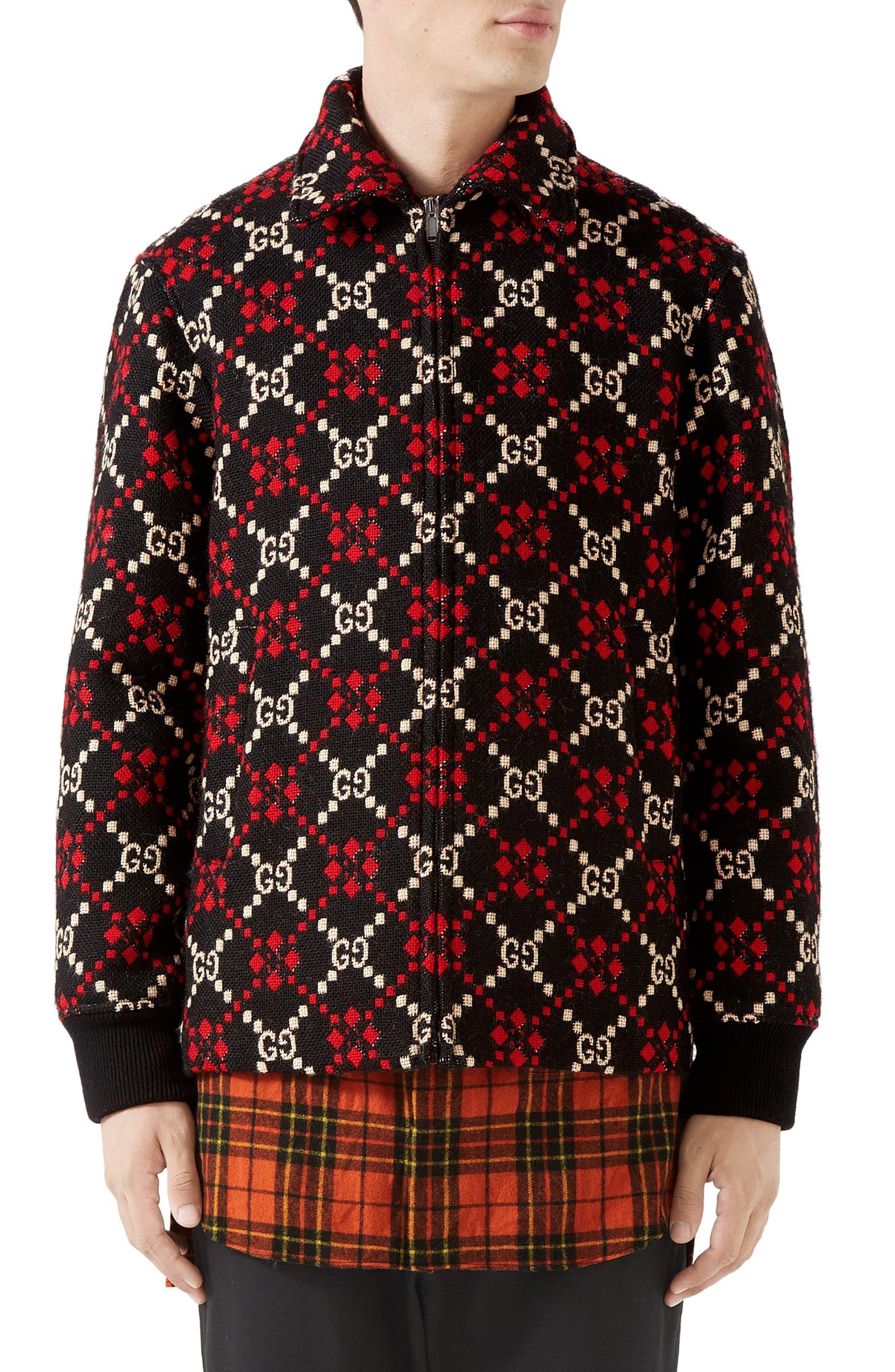 GG Wool Jacket,                             Main thumbnail 1, color,                             BLACK