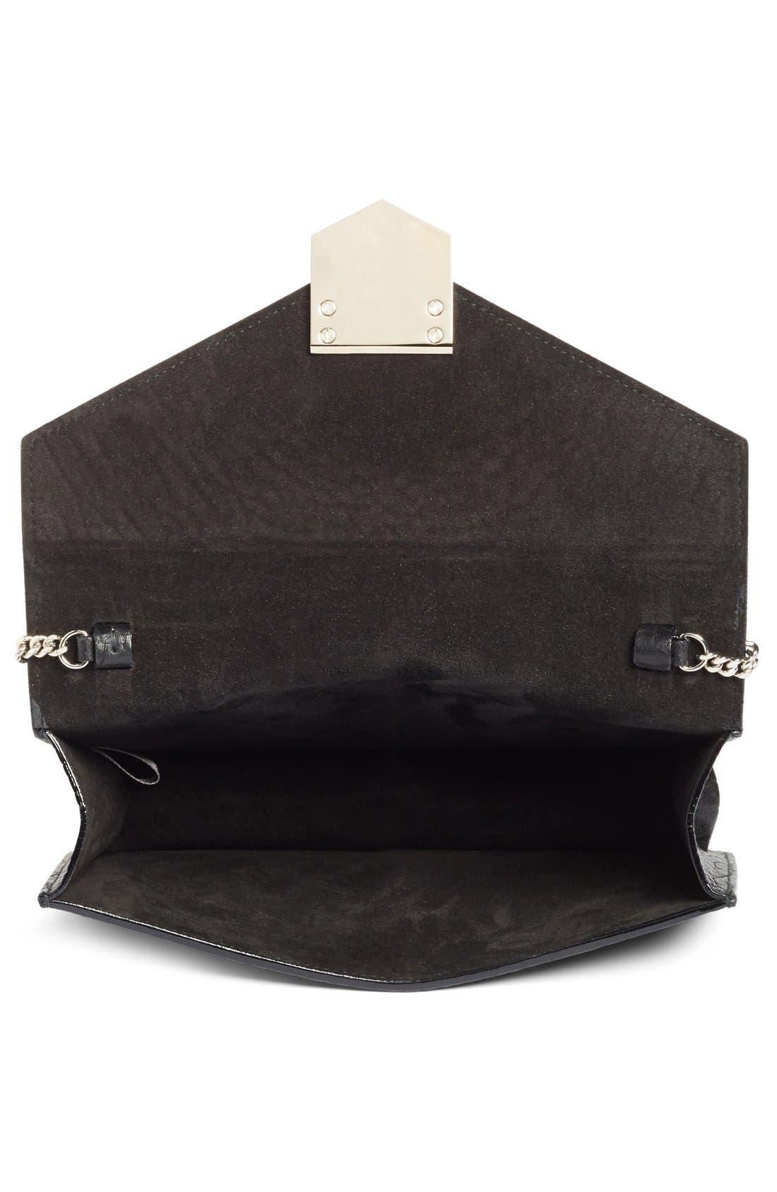 Leila Grainy Lambskin Leather Crossbody Bag,                             Alternate thumbnail 6, color,                             001