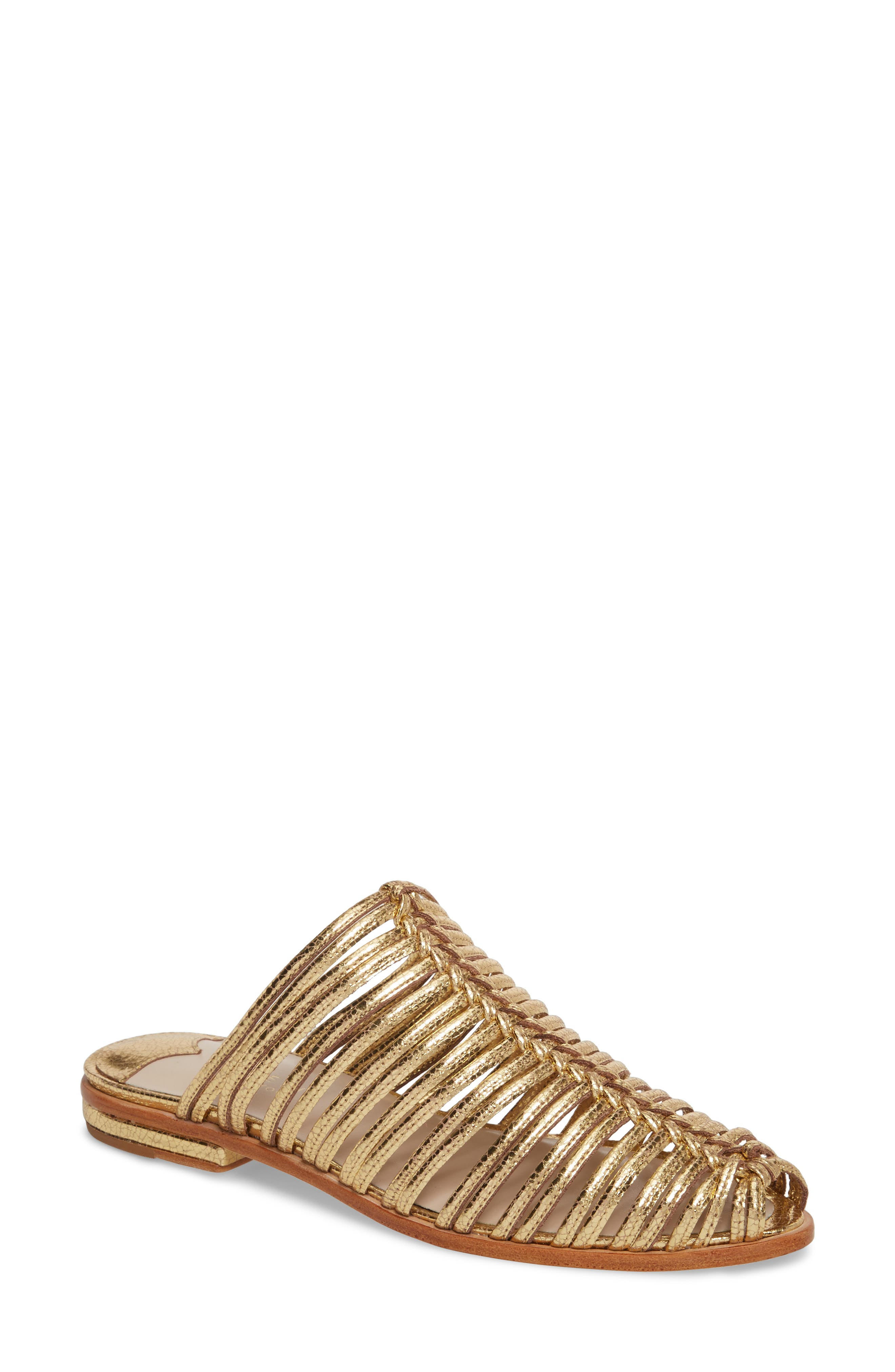Gloria Sandal,                             Main thumbnail 1, color,                             GOLD LEATHER
