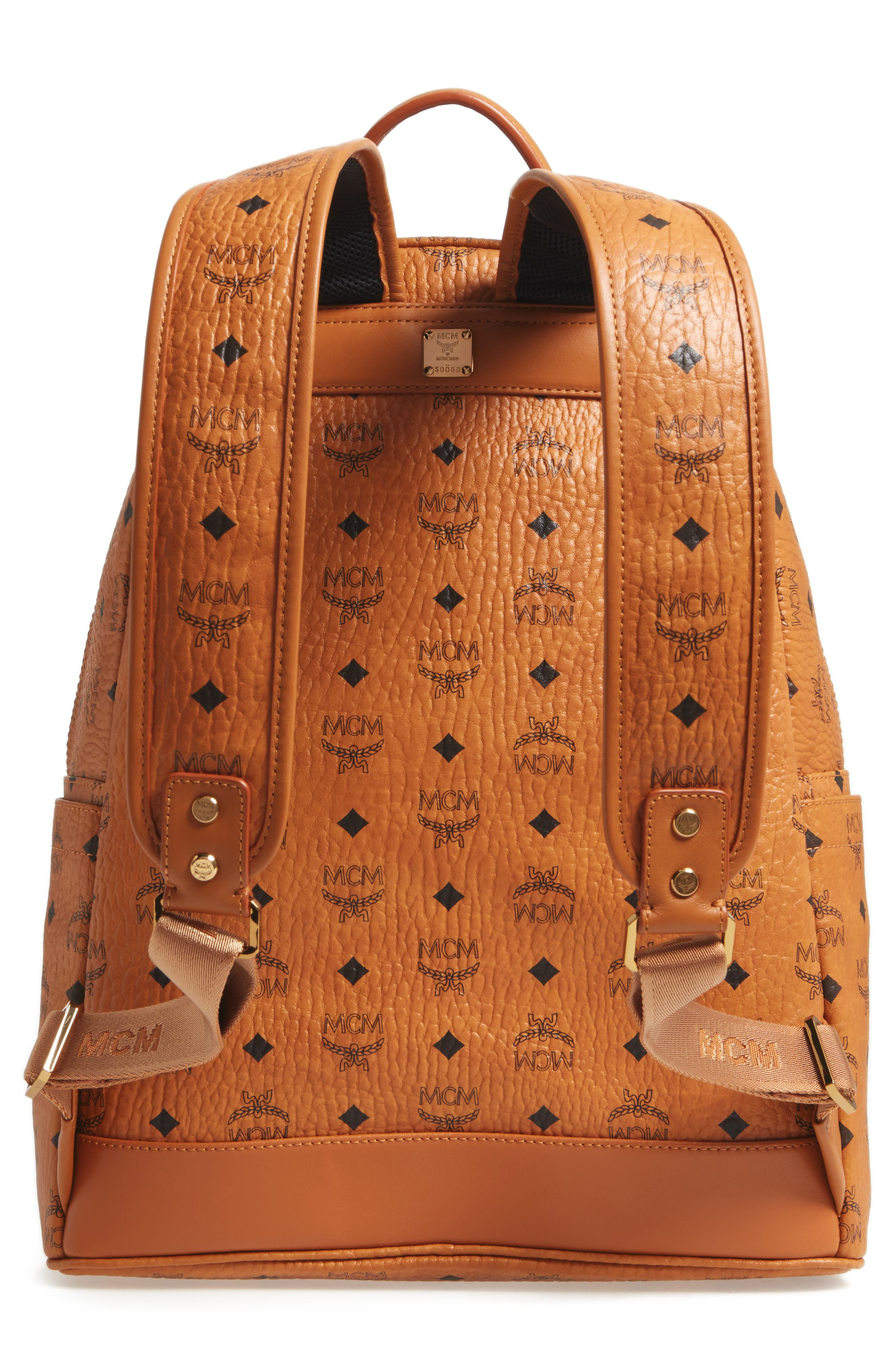 Stark Stripe Faux Leather Backpack,                             Alternate thumbnail 3, color,                             210