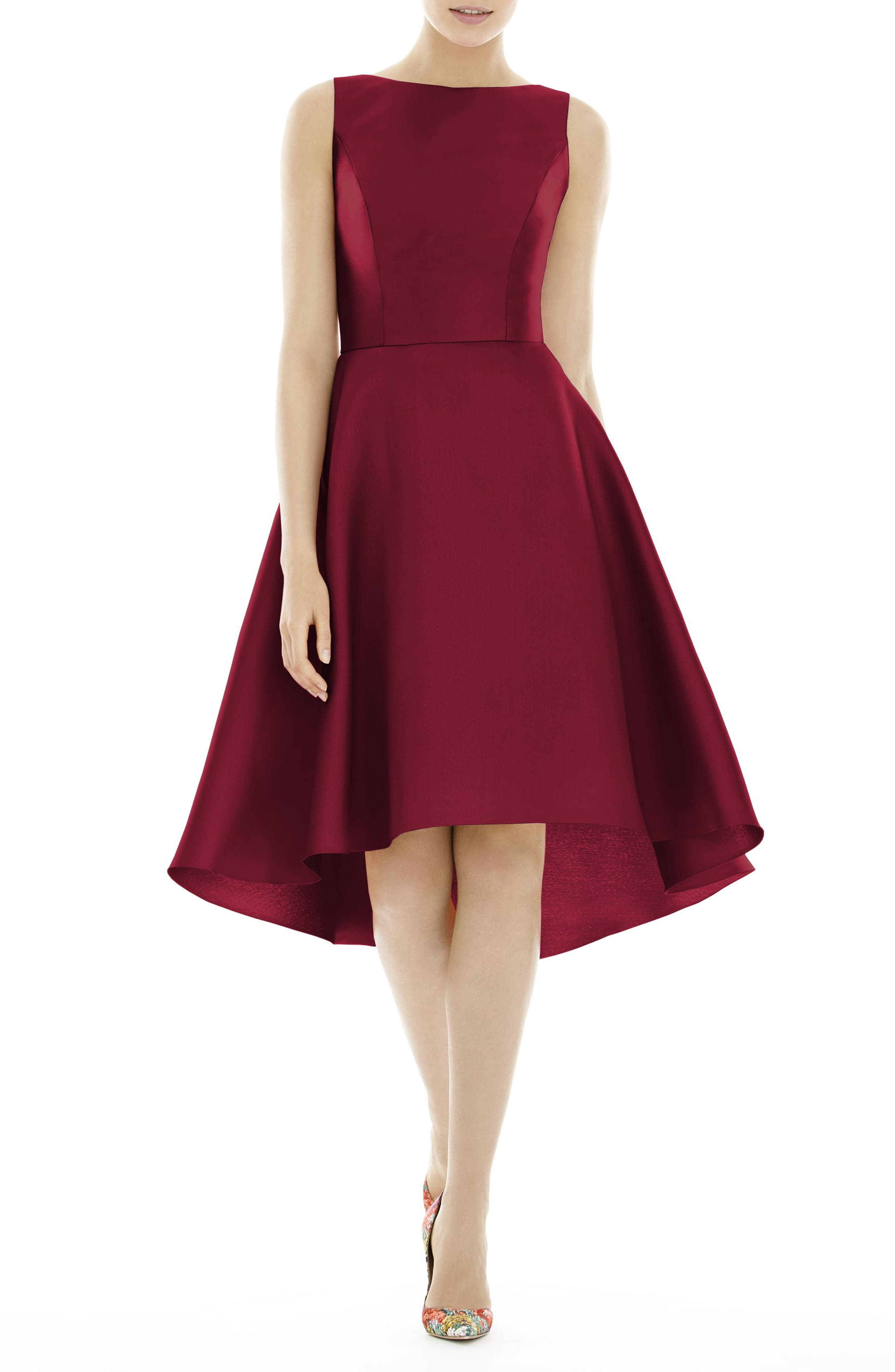 Alfred Sung High/low Cocktail Dress, Burgundy