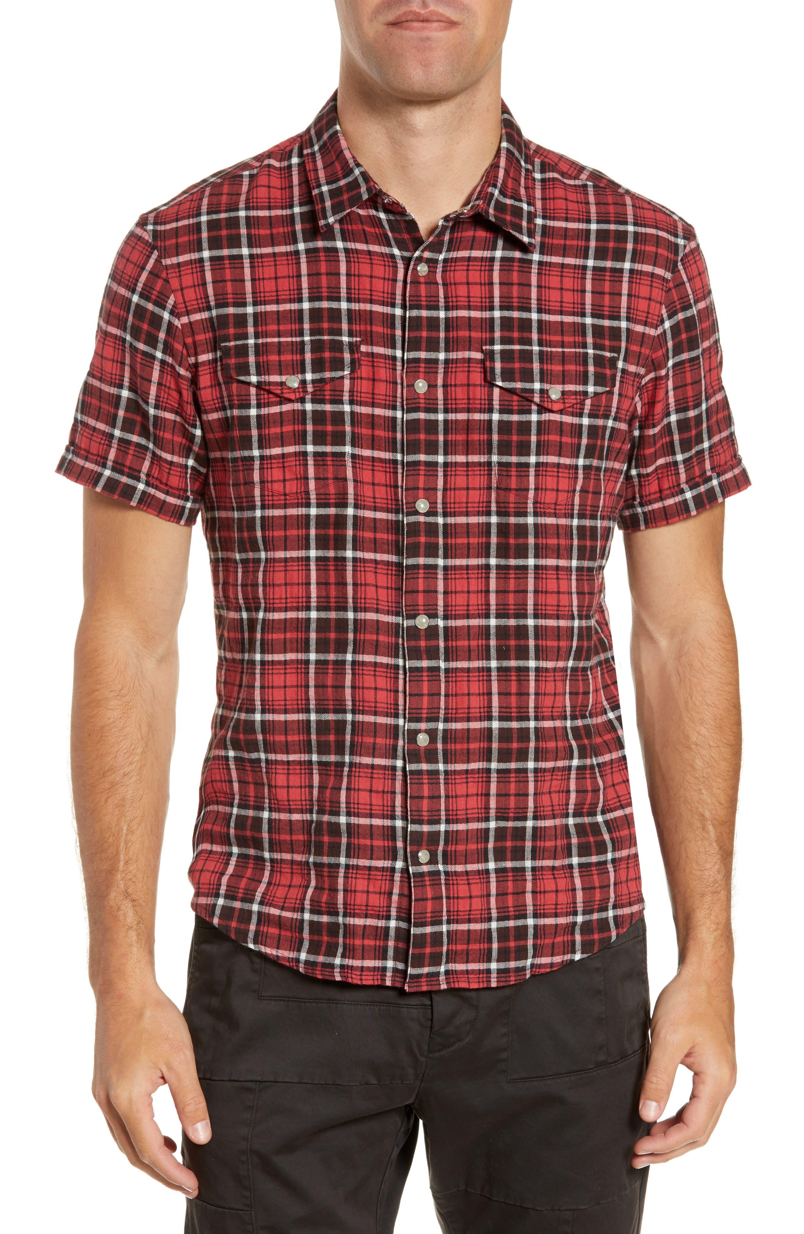 John Varvatos Star Usa Denton Plaid Flannel Sport Shirt, Red