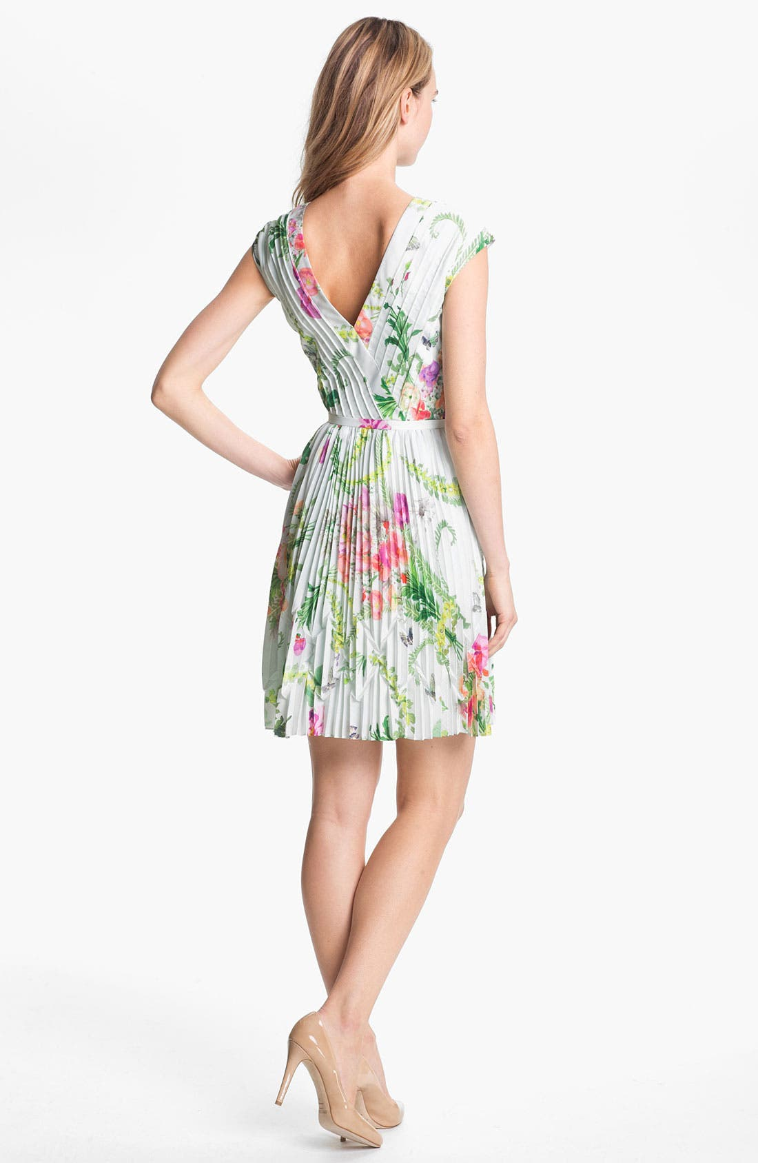 TED BAKER LONDON,                             'Wallpaper' Pleated A-Line Dress,                             Alternate thumbnail 2, color,                             331