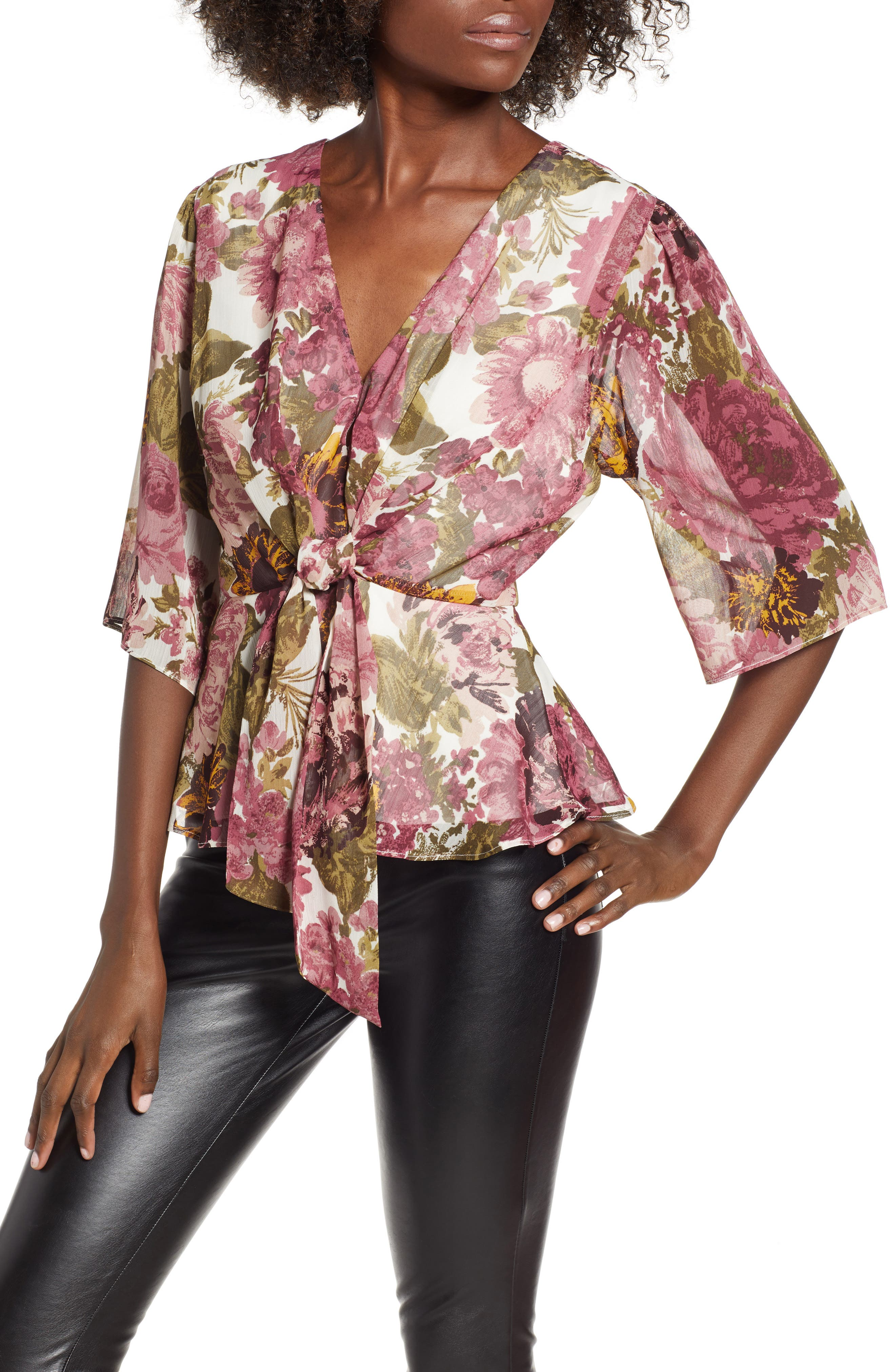 Plunging Knot Front Top,                         Main,                         color, ROSE FLORAL