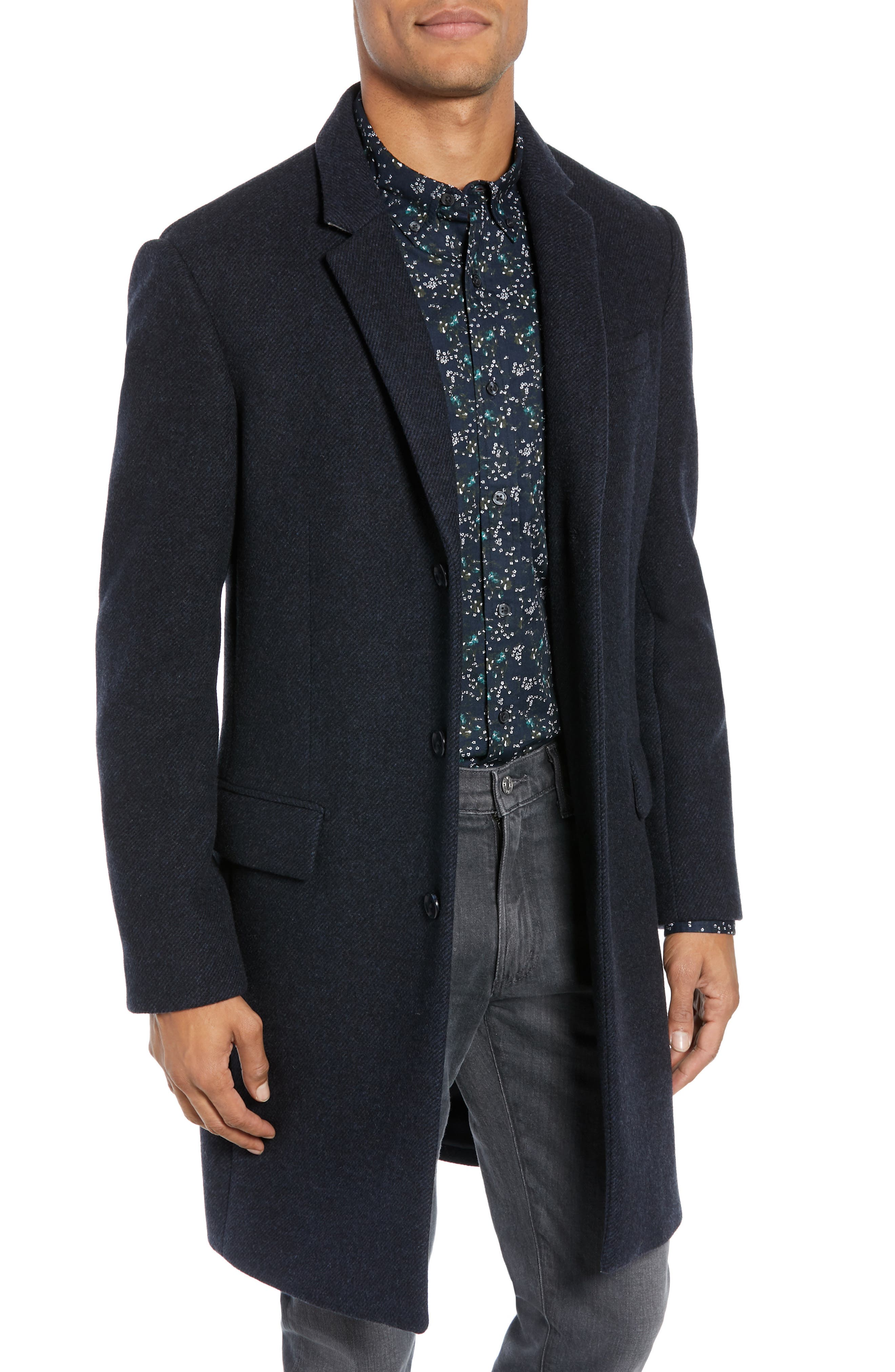 Trim Fit Twill Topcoat, Main, color, 410