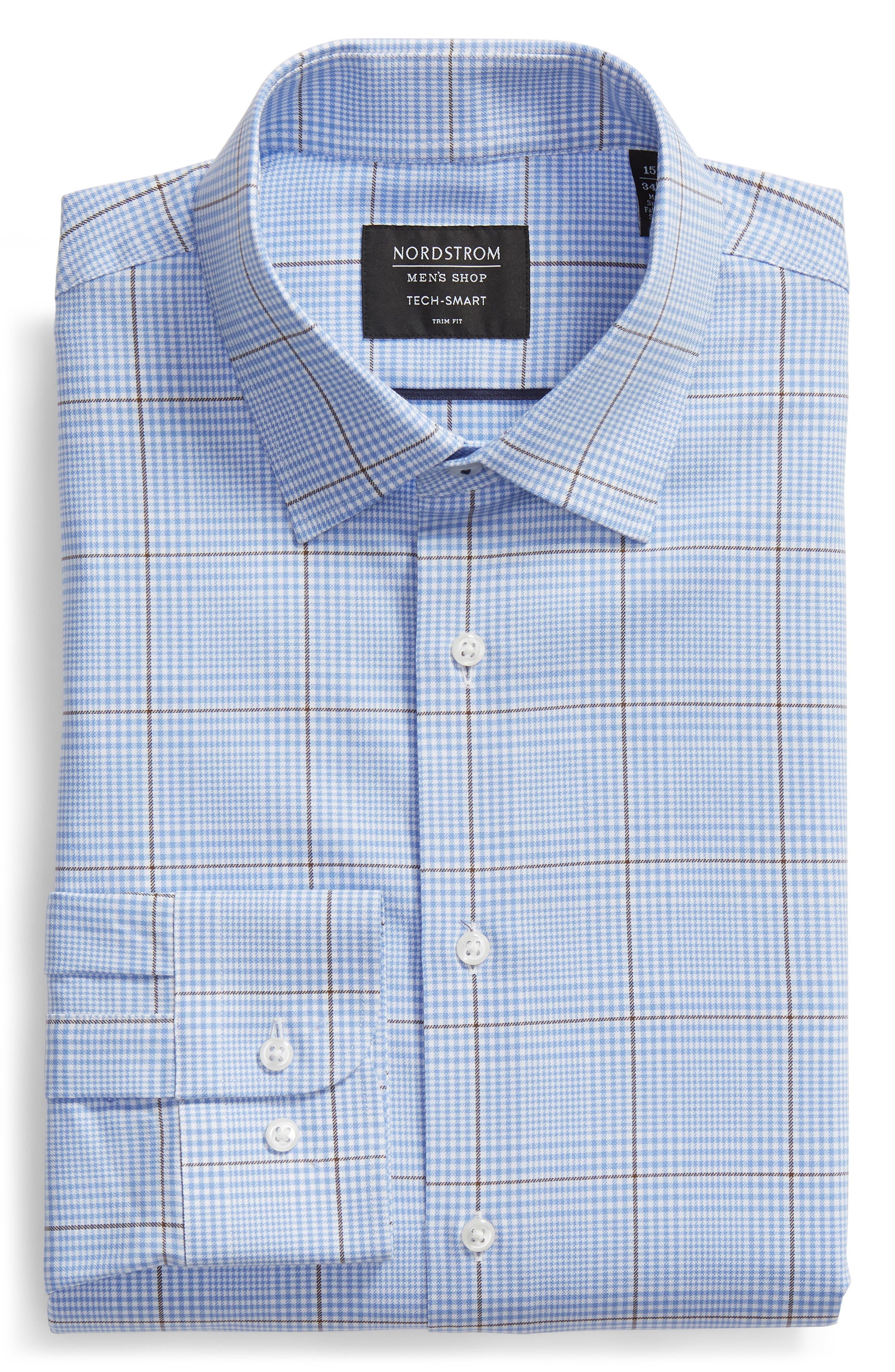Tech-Smart Trim Fit Stretch Plaid Dress Shirt,                             Alternate thumbnail 5, color,                             BLUE HAZE