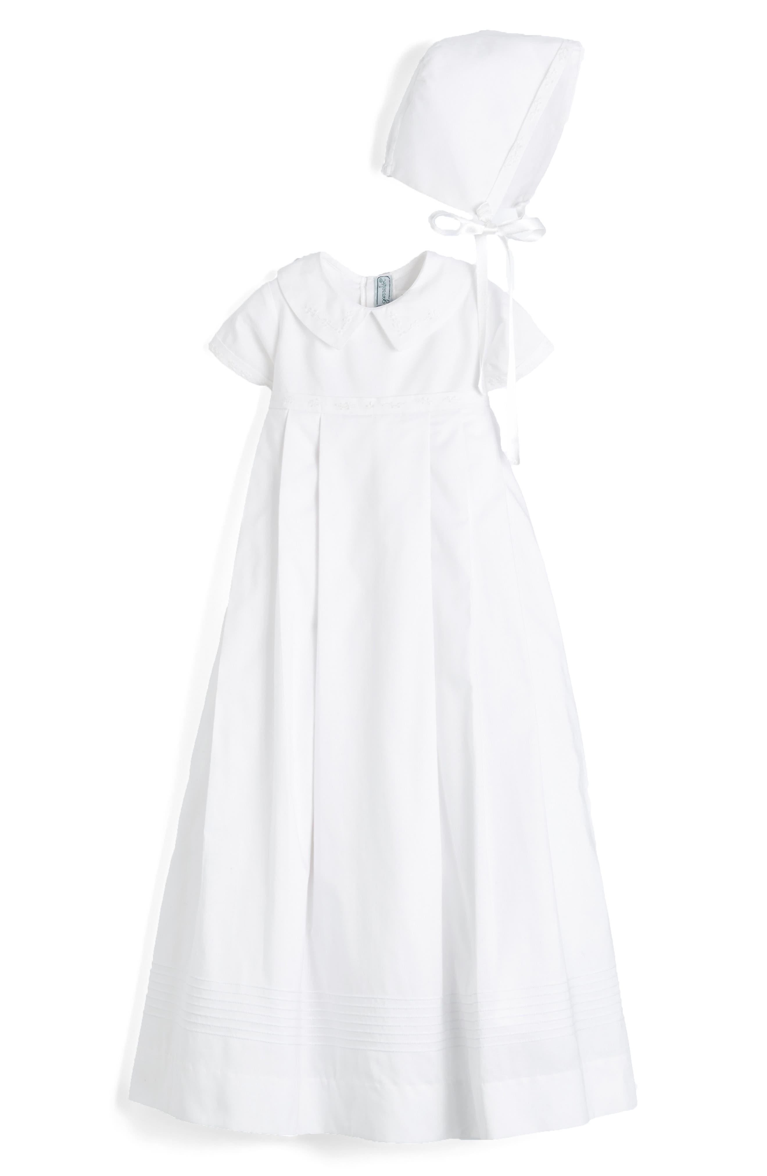 'Classic' Christening Gown & Bonnet,                             Alternate thumbnail 3, color,                             WHITE