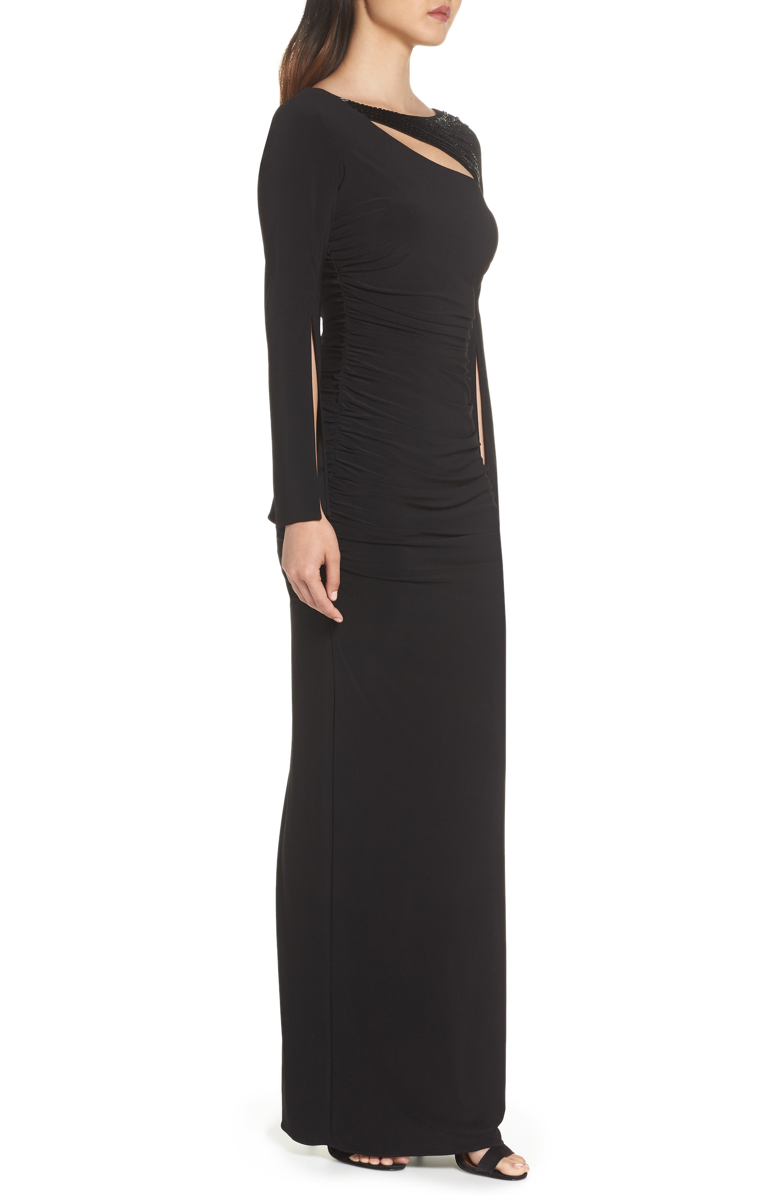 Jersey Gown,                             Alternate thumbnail 3, color,                             BLACK