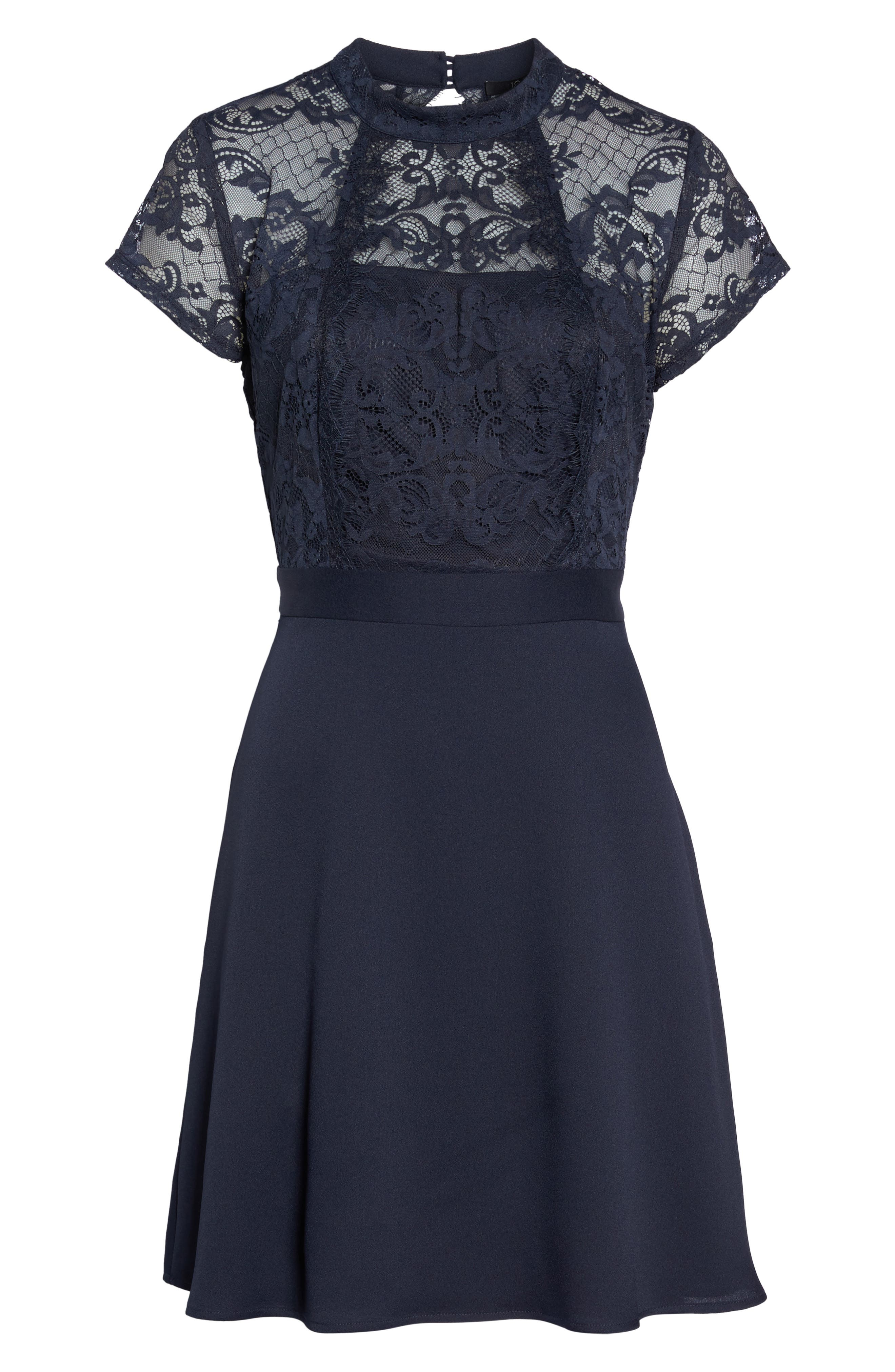 Lace Fit & Flare Dress,                             Alternate thumbnail 6, color,                             405