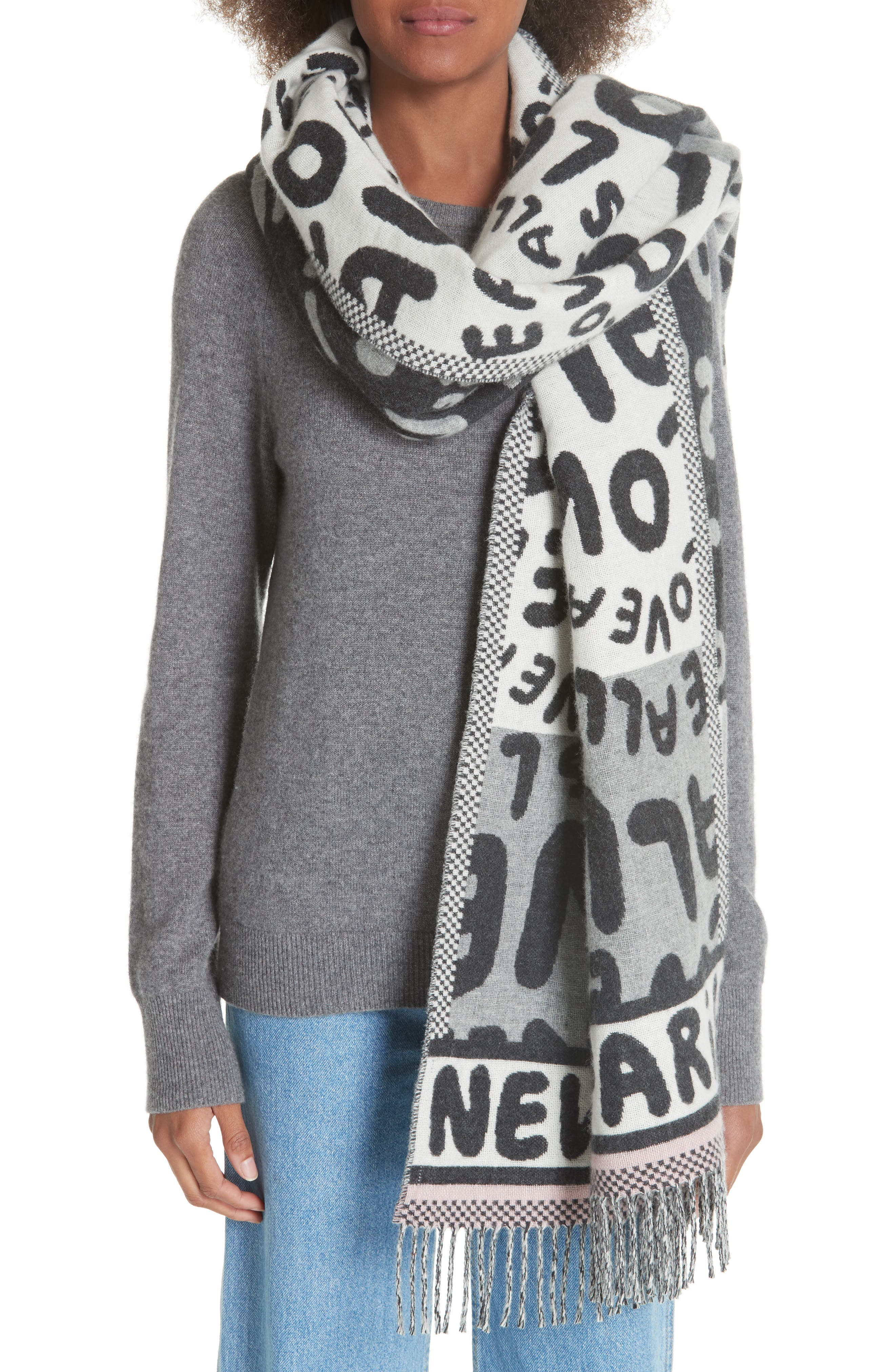 STELLA MCCARTNEY,                             All Is Love Wool & Cashmere Scarf,                             Alternate thumbnail 2, color,                             GREY MELANGE