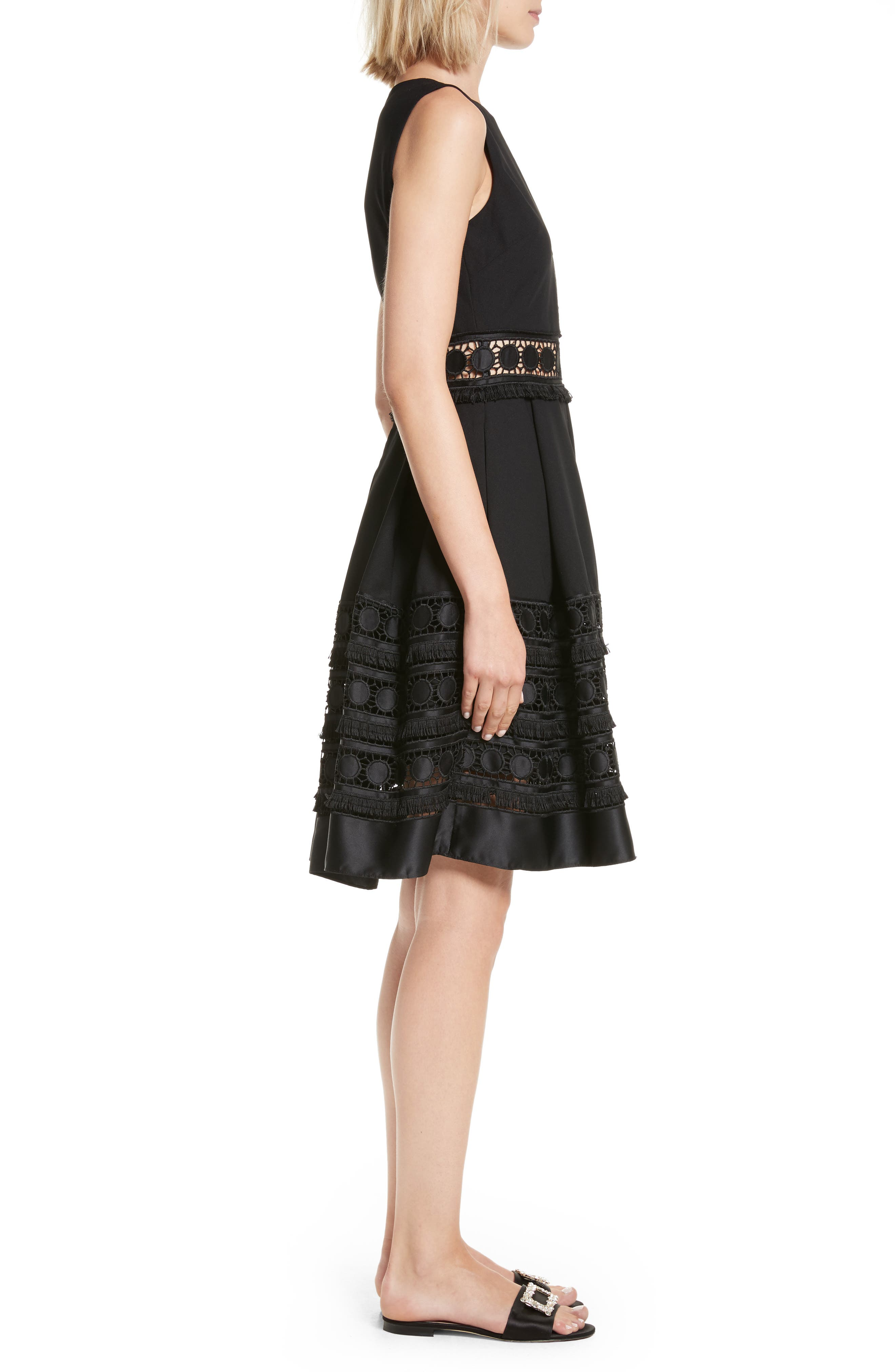 Olym Contrast Trim Dress,                             Alternate thumbnail 3, color,                             001