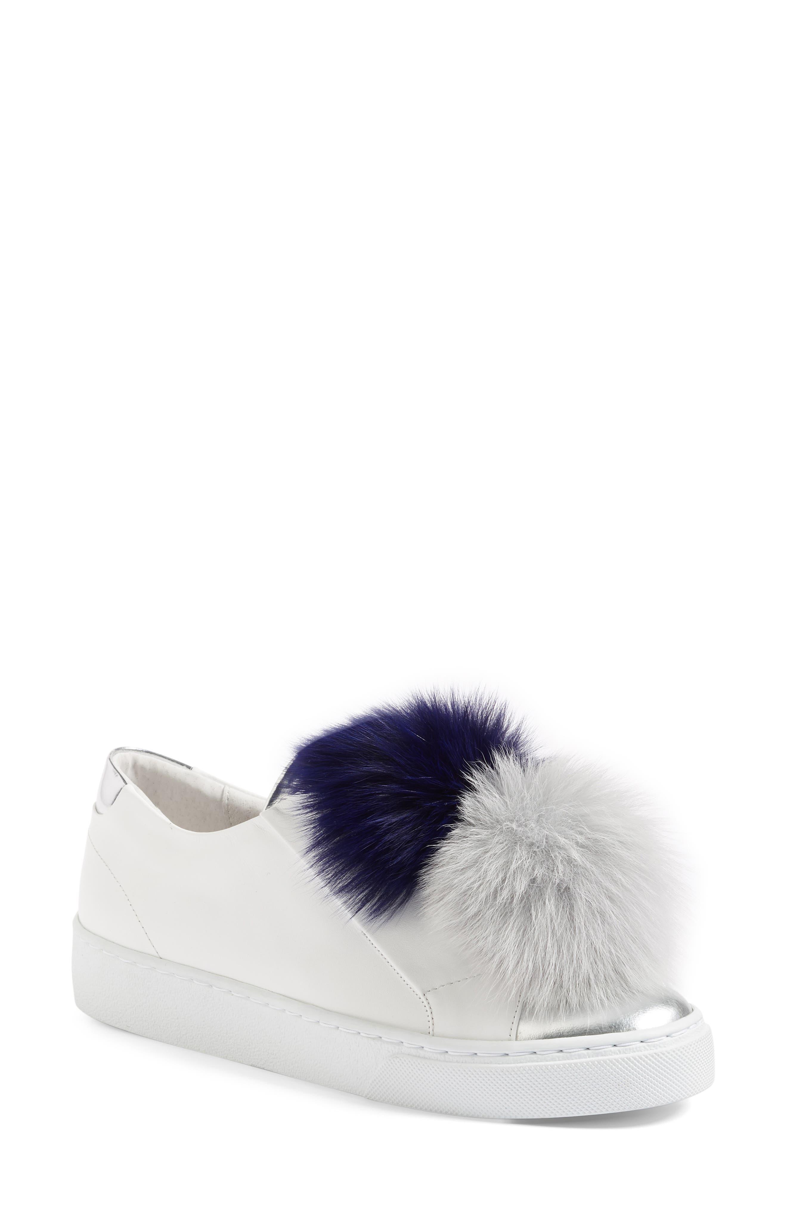 Arian Genuine Fox Fur Trim Sneaker,                         Main,                         color, 110