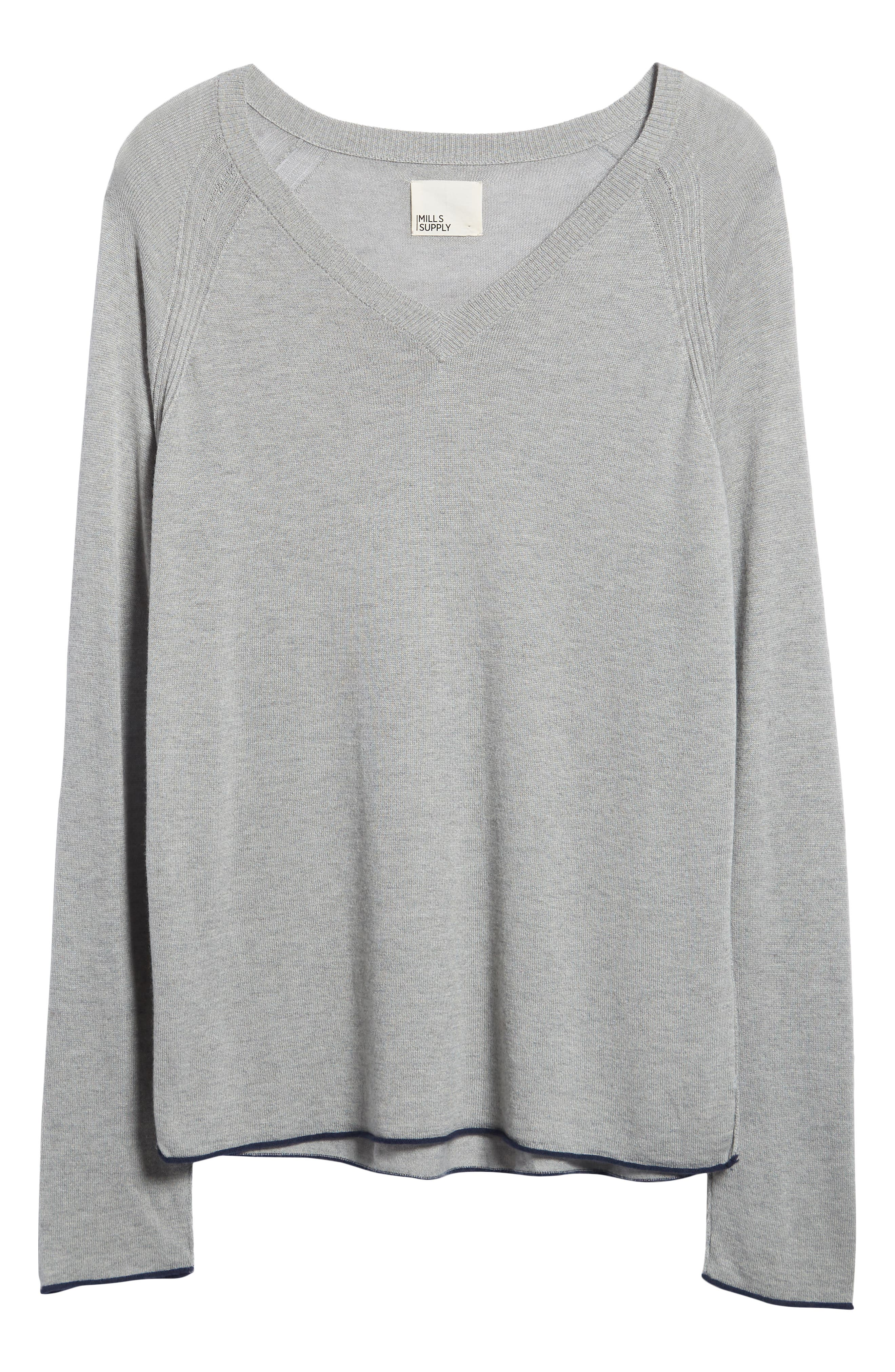 Salinas Cash V-Neck Sweater,                             Alternate thumbnail 6, color,                             GREY HEATHER