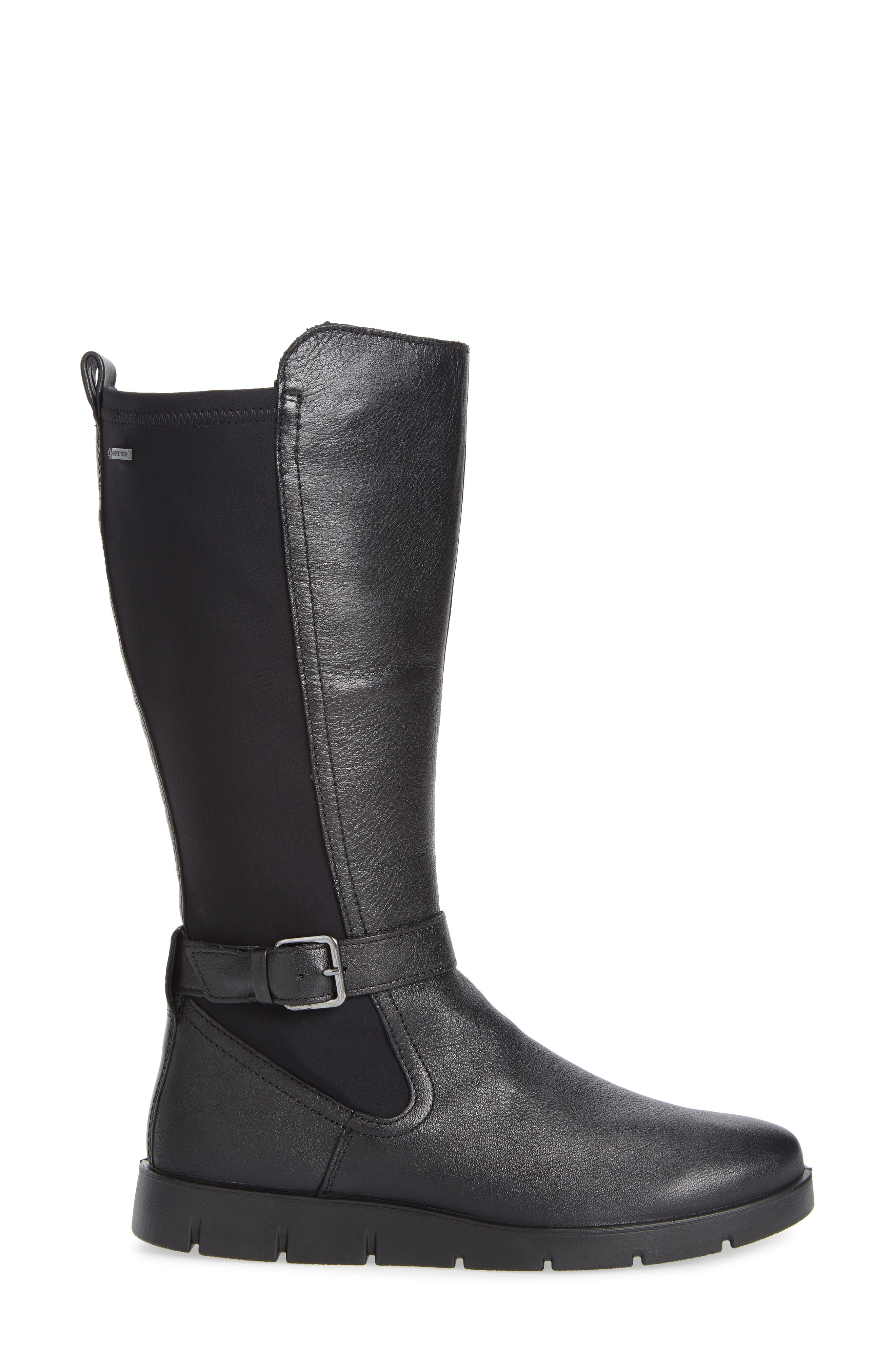 Bella Water Resistant Tall Boot,                             Alternate thumbnail 3, color,                             BLACK LEATHER