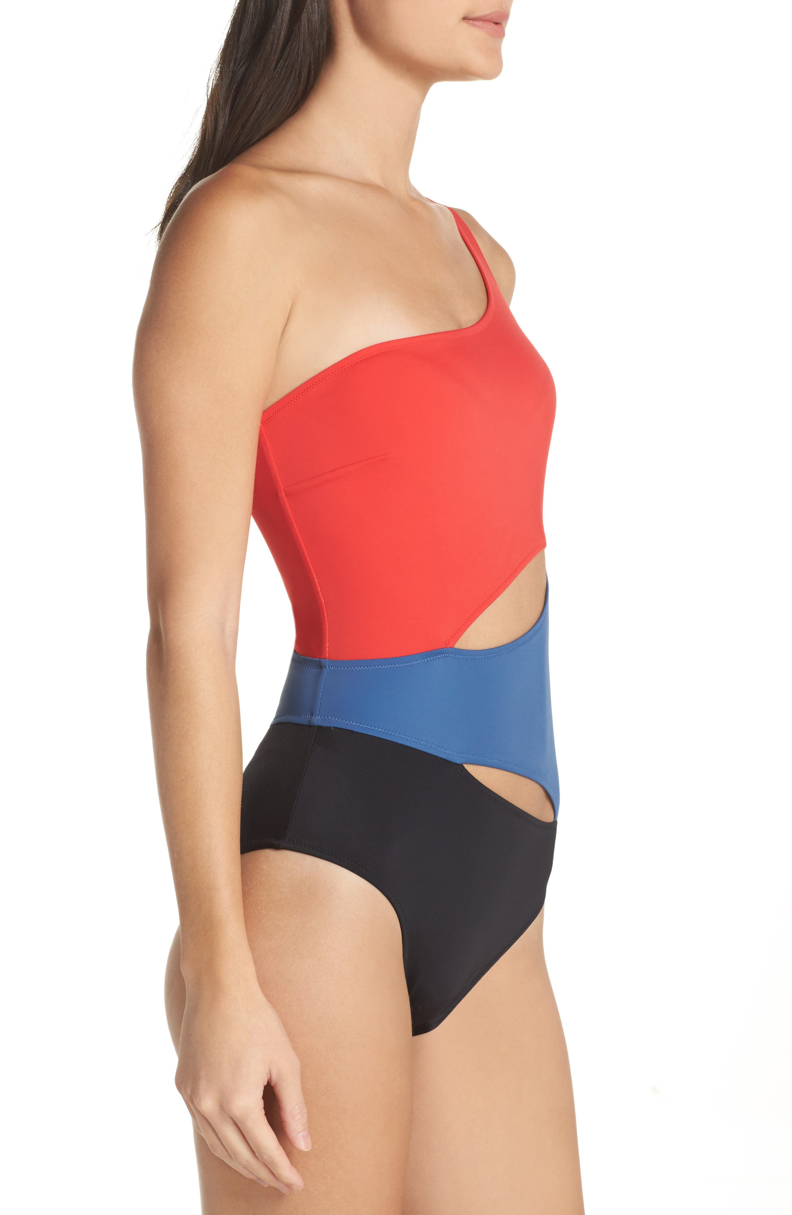 One-Shoulder One-Piece Swimsuit,                             Alternate thumbnail 6, color,