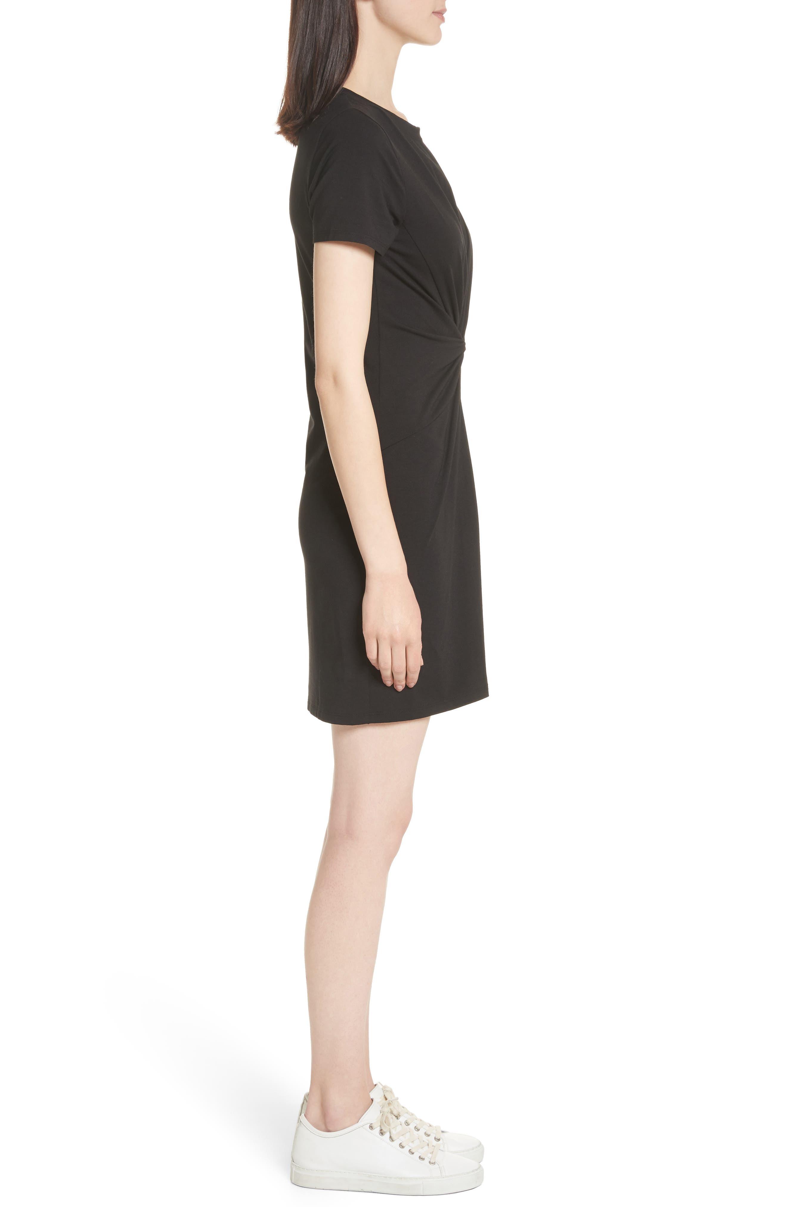 Rubri Knotted T-Shirt Dress,                             Alternate thumbnail 3, color,                             BLACK MULTI