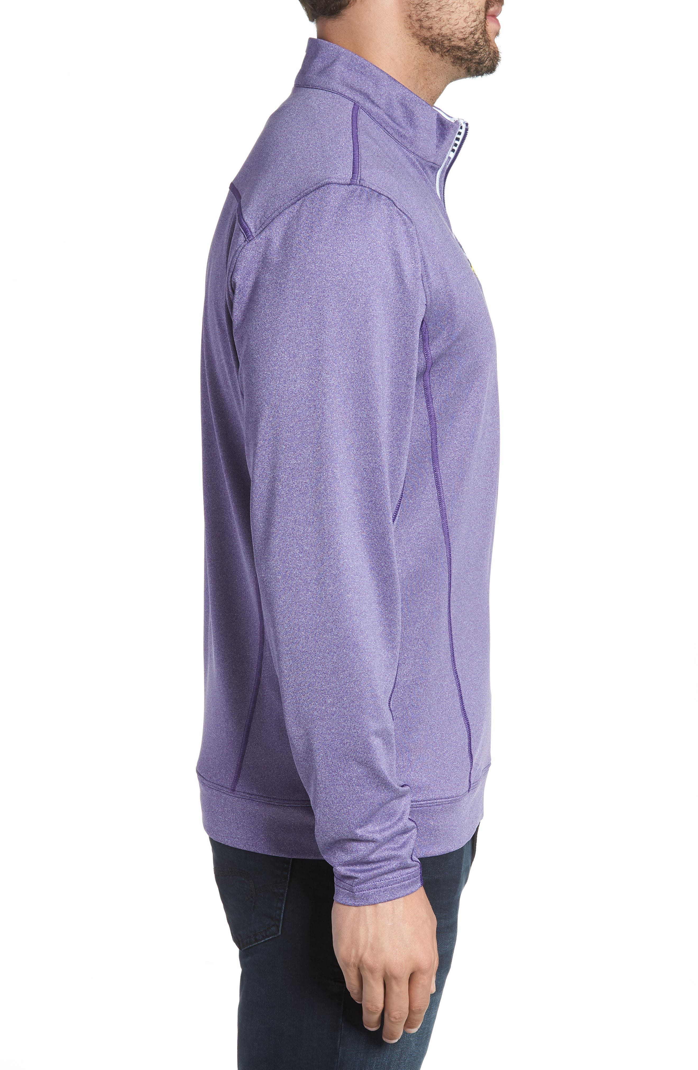 Endurance Minnesota Vikings Regular Fit Pullover,                             Alternate thumbnail 3, color,                             COLLEGE PURPLE HEATHER