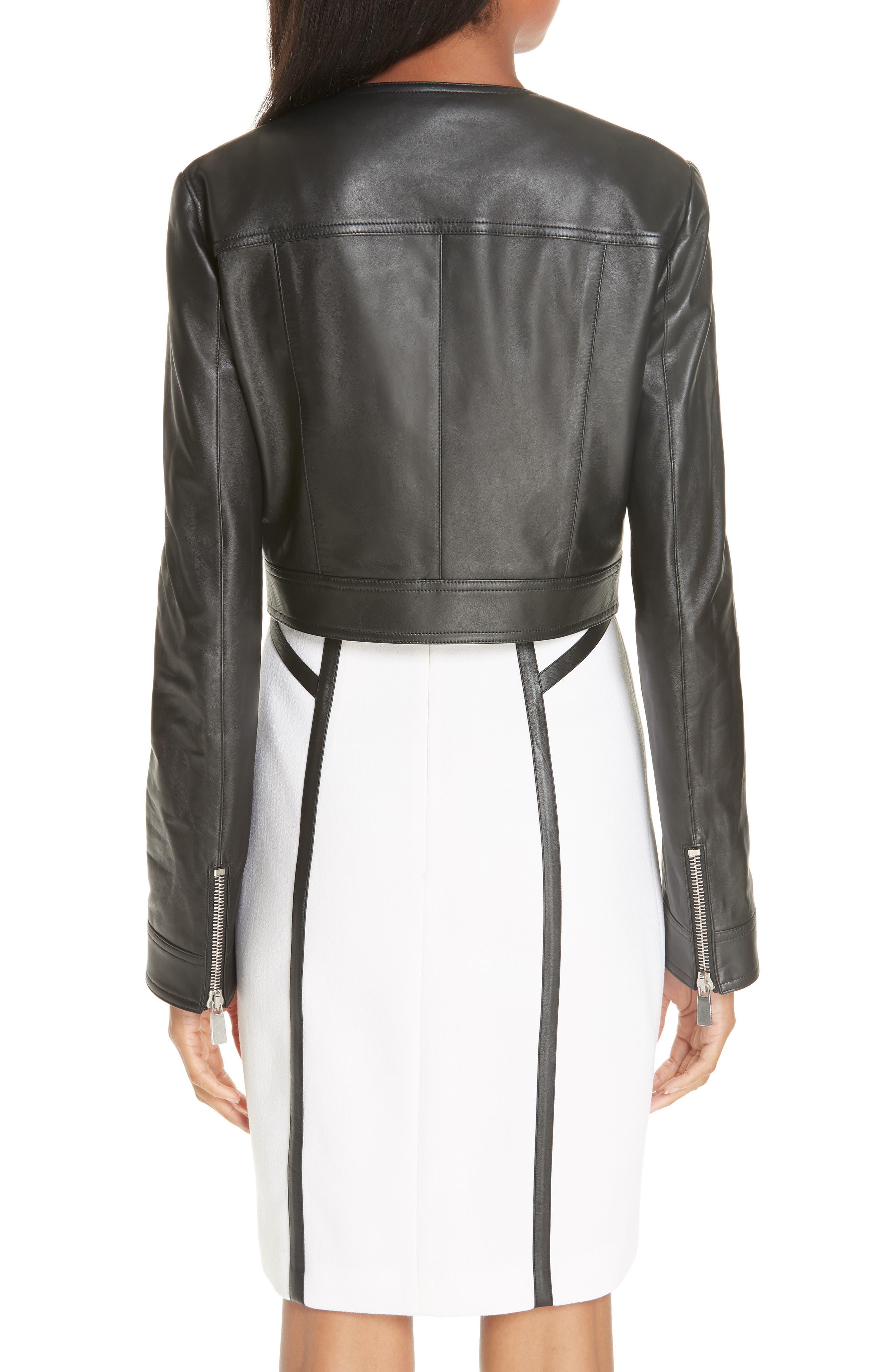 Crop Plongé Leather Jacket,                             Alternate thumbnail 2, color,                             BLACK