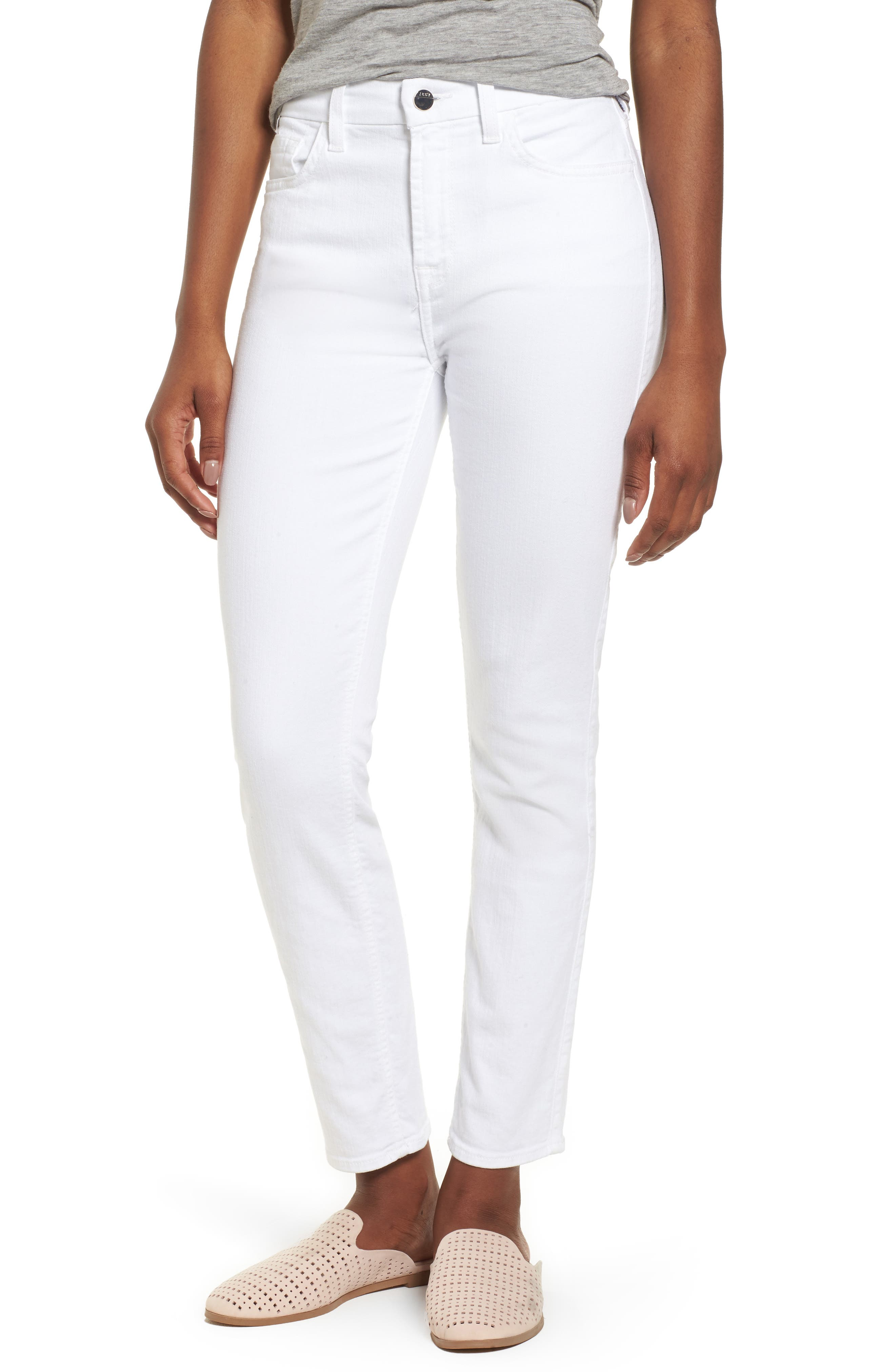Ankle Skinny Jeans,                         Main,                         color, WHITE FASION