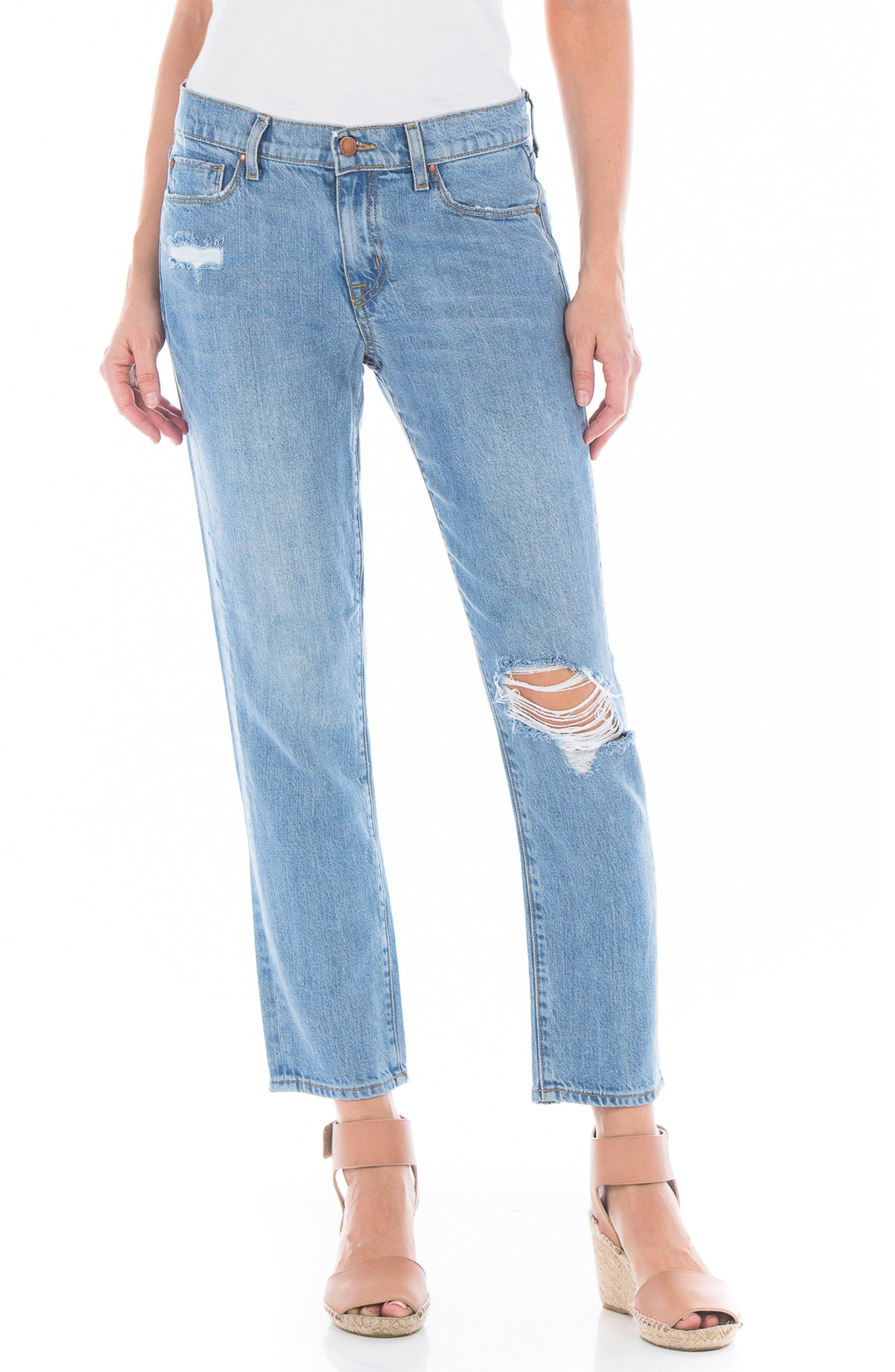 Axl Ripped Crop Girlfriend Jeans,                         Main,                         color, 400